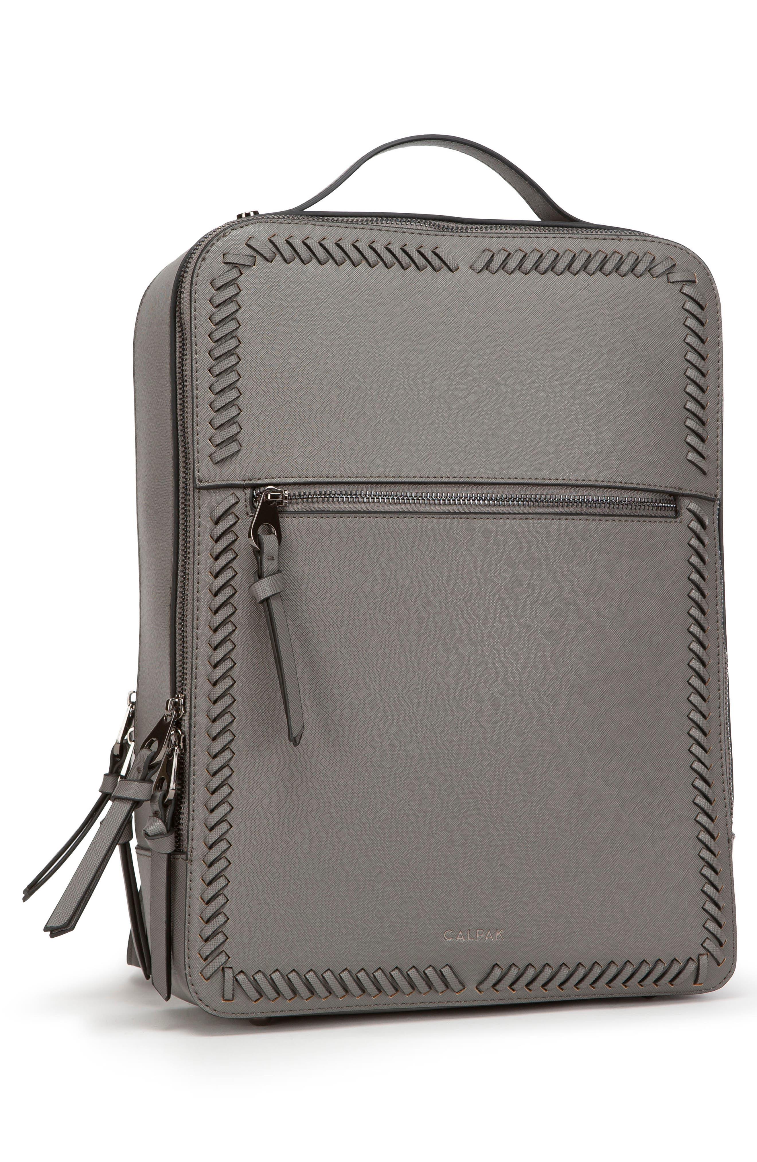 CALPAK, Kaya Faux Leather Laptop Backpack, Alternate thumbnail 4, color, CHARCOAL