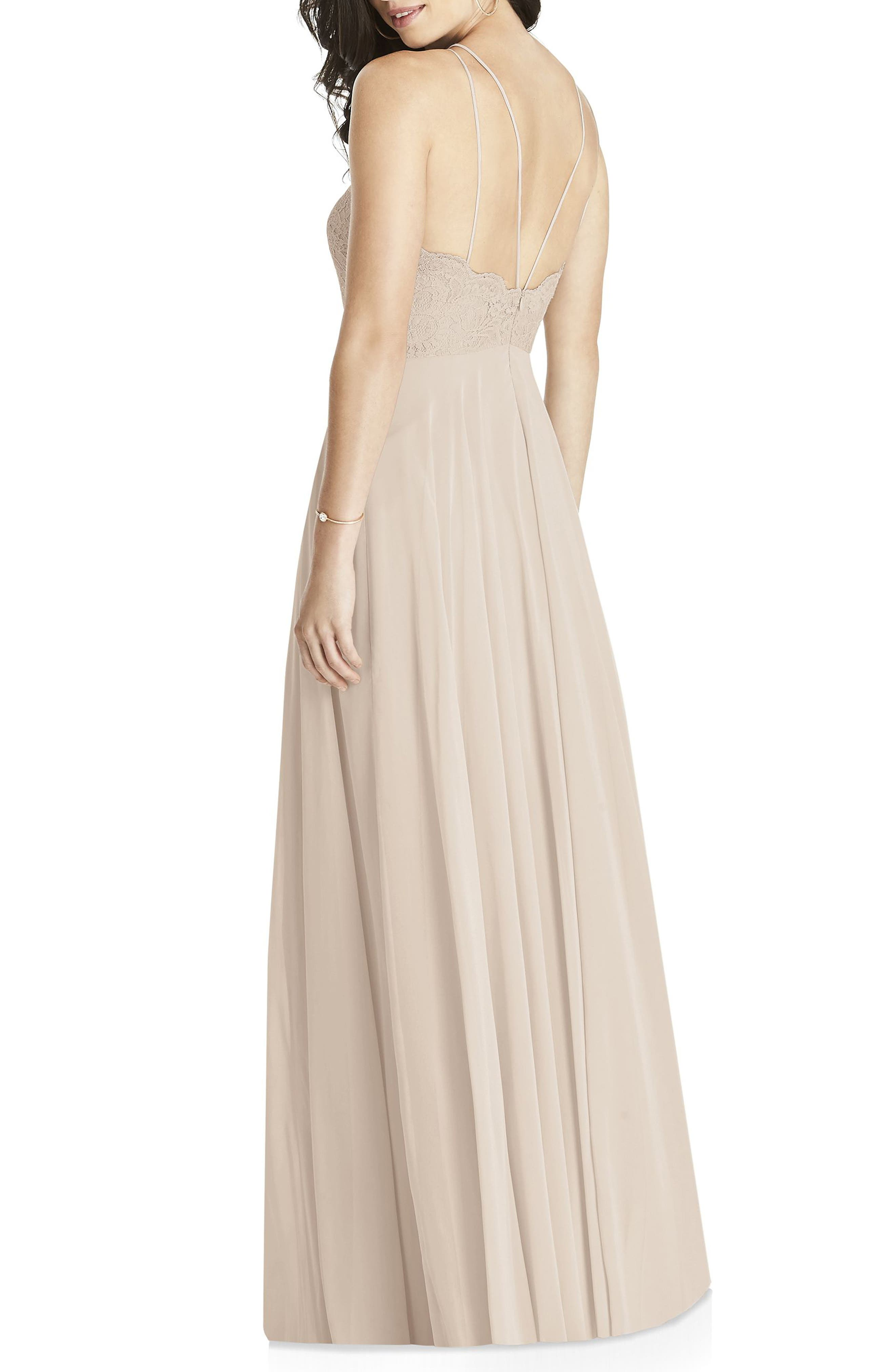 DESSY COLLECTION, Lace & Chiffon Halter Gown, Alternate thumbnail 2, color, CAMEO