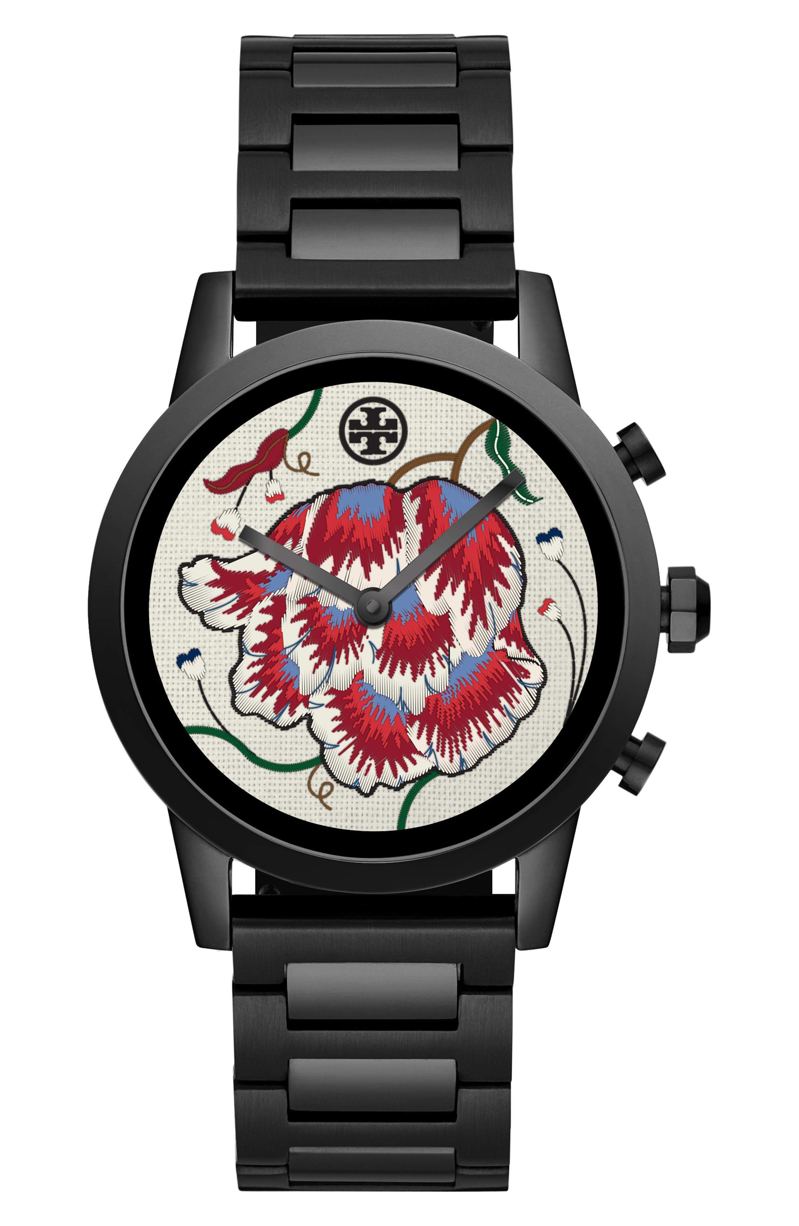 TORY BURCH, ToryTrack Gigi Touchscreen Smart Watch, 40mm, Alternate thumbnail 5, color, BLACK