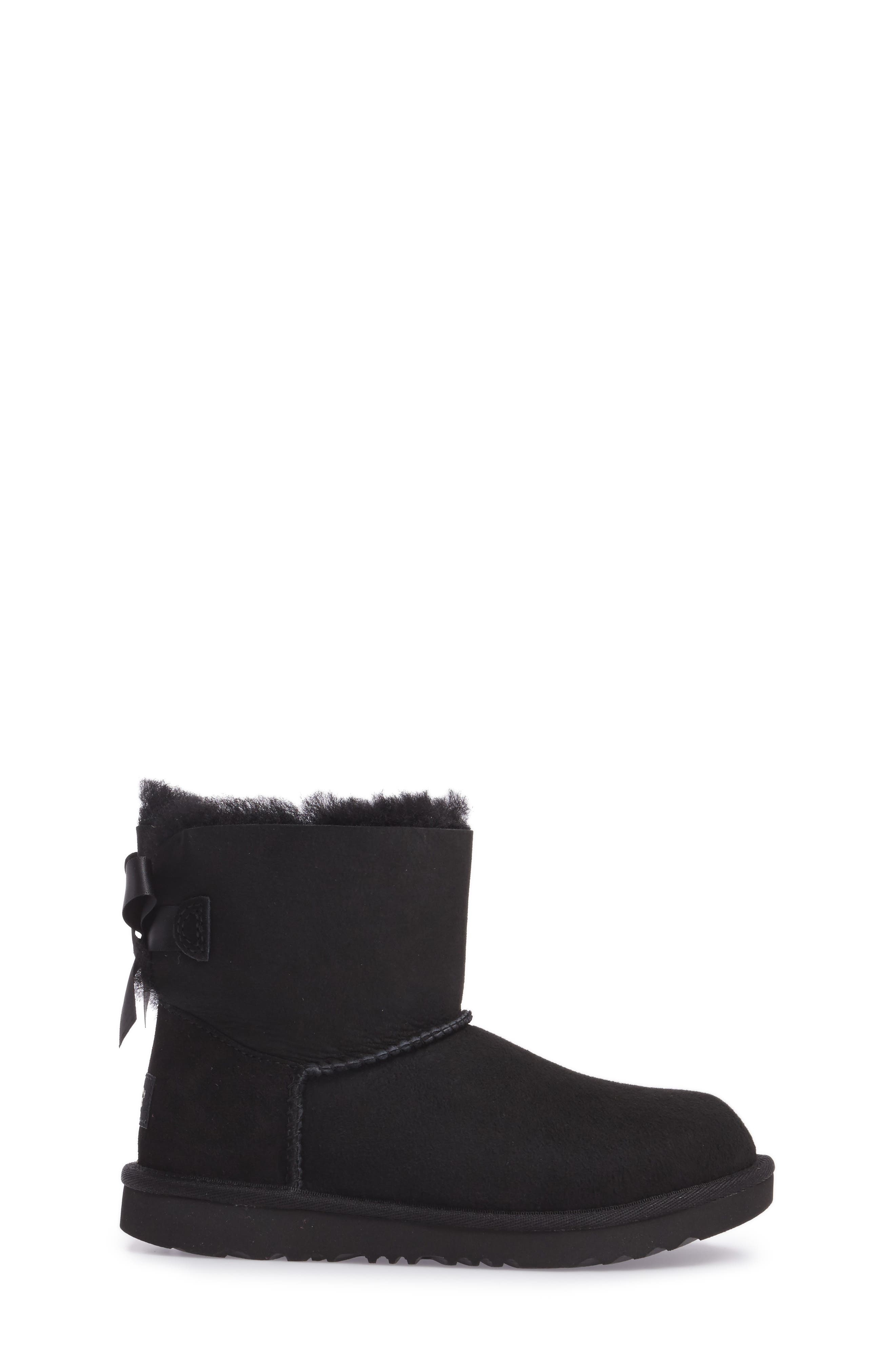 UGG<SUP>®</SUP>, Mini Bailey Bow II Water Resistant Boot, Alternate thumbnail 3, color, BLACK