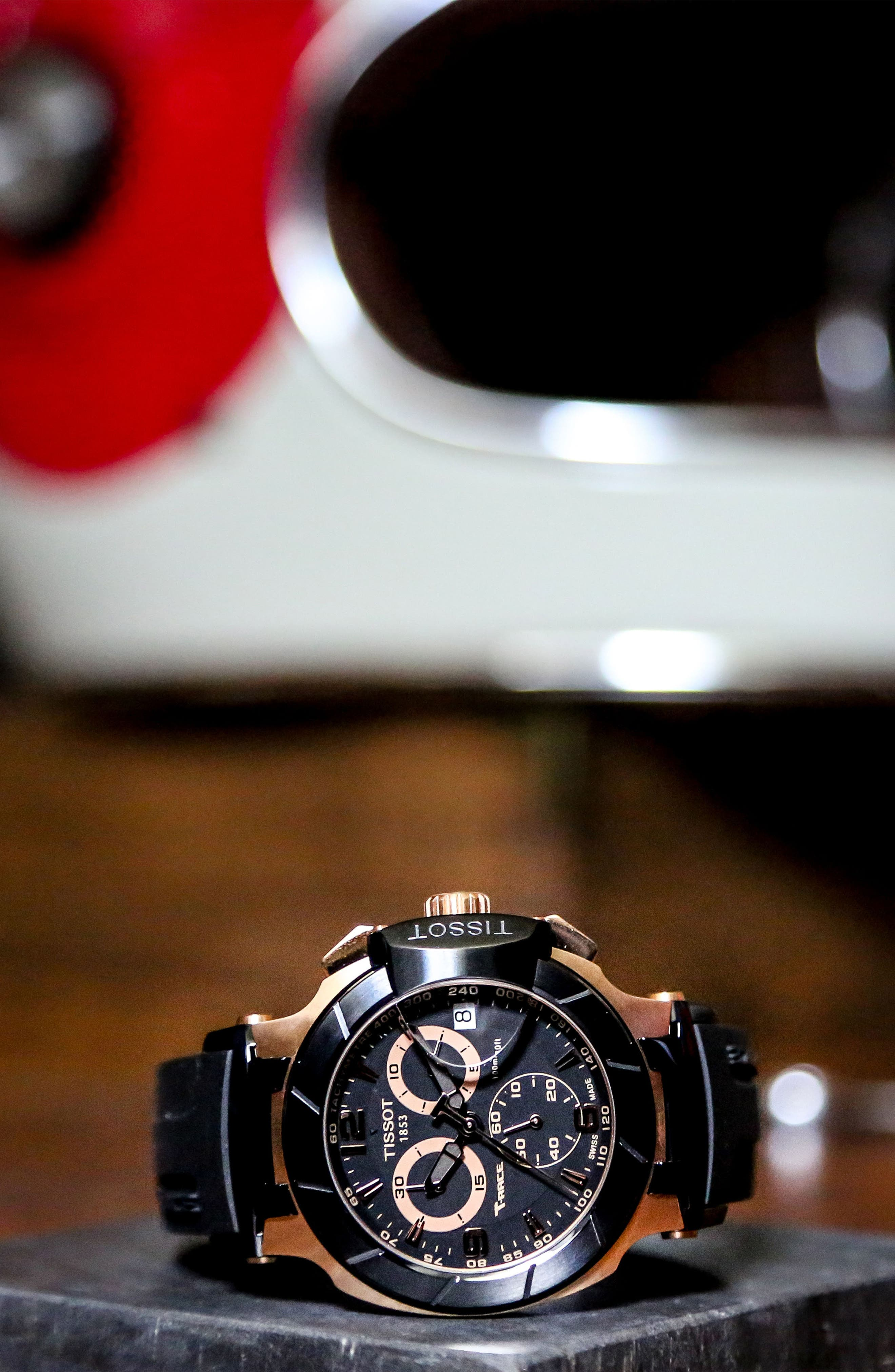 TISSOT, T-Race Chronograph Silicone Strap Watch, 50mm, Alternate thumbnail 4, color, BLACK/ ROSE GOLD