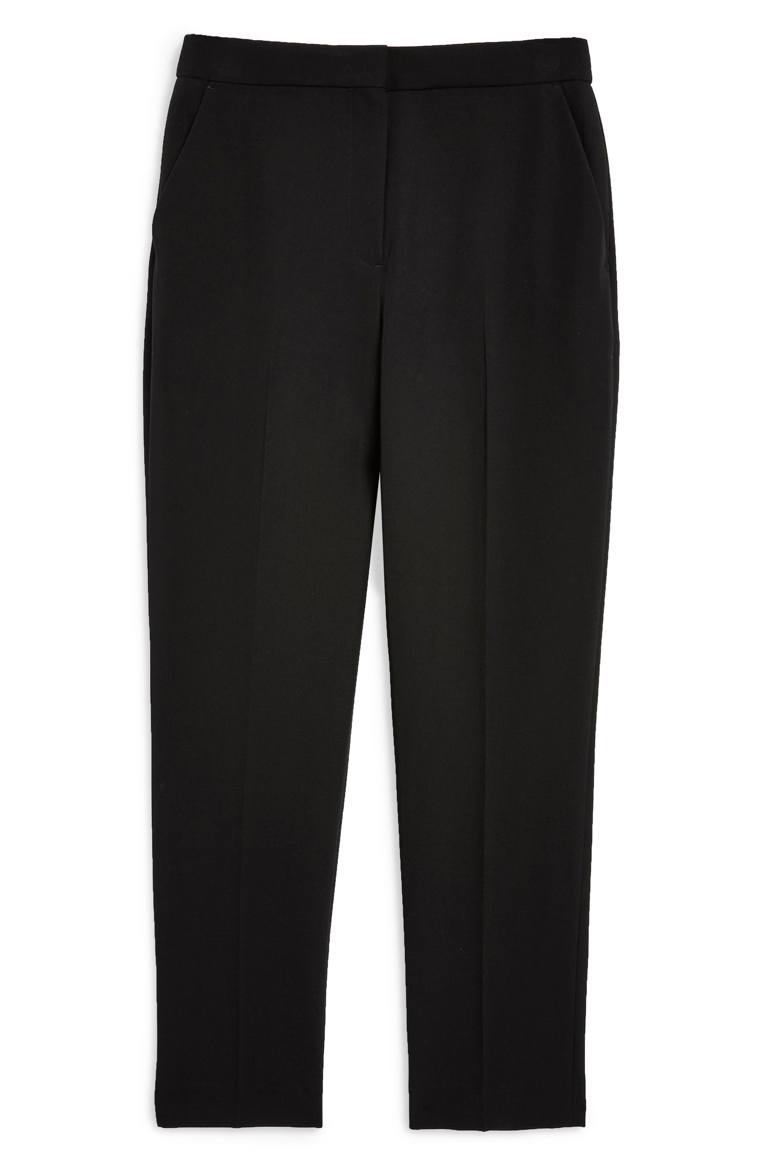 TOPSHOP, Kleo Trousers, Alternate thumbnail 5, color, BLACK