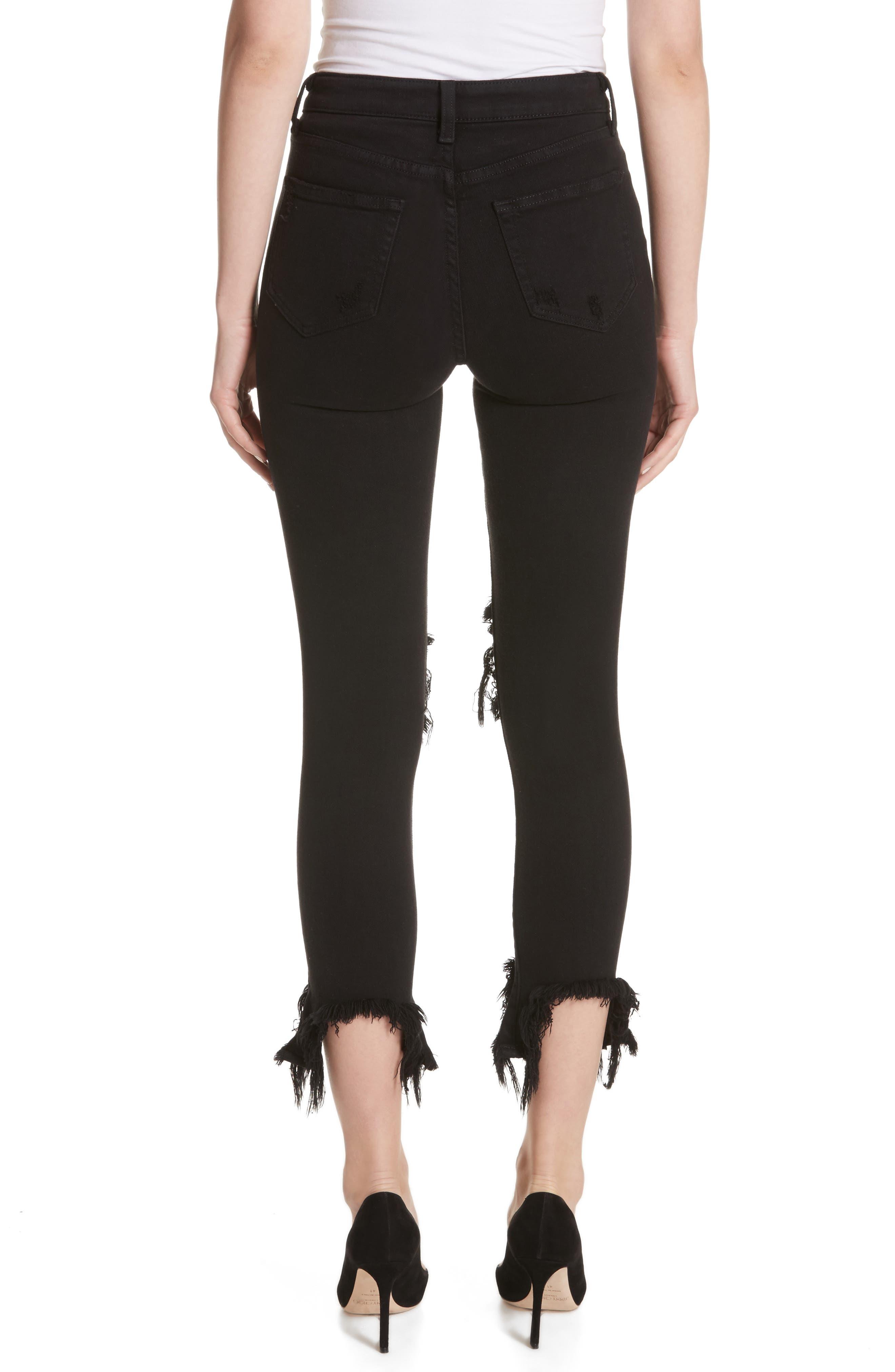 L'AGENCE, Highline High Waist Fray Hem Skinny Jeans, Alternate thumbnail 2, color, SATURATED BLACK DESTRUCT