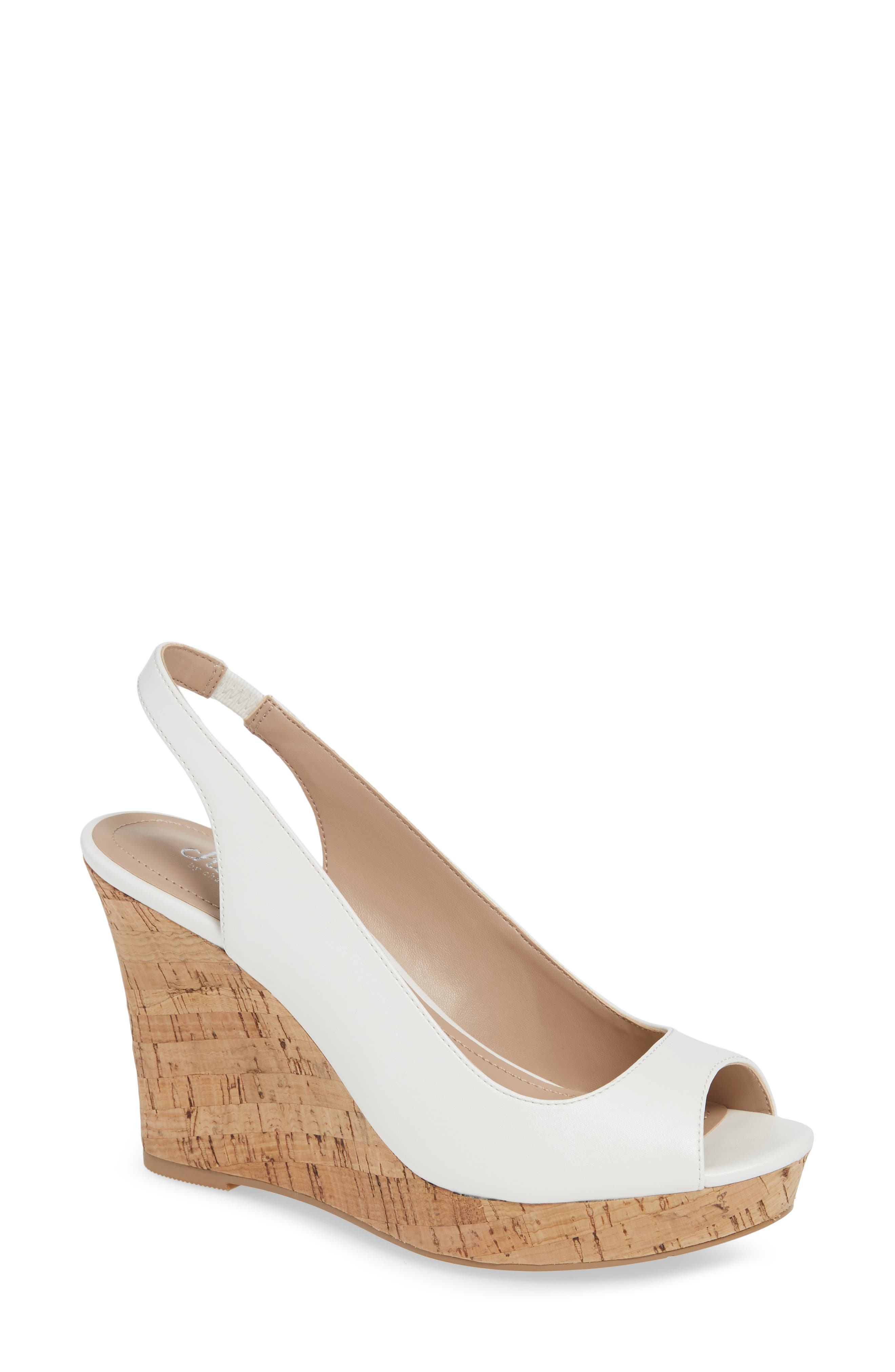 CHARLES BY CHARLES DAVID Leandra Slingback Wedge, Main, color, 100