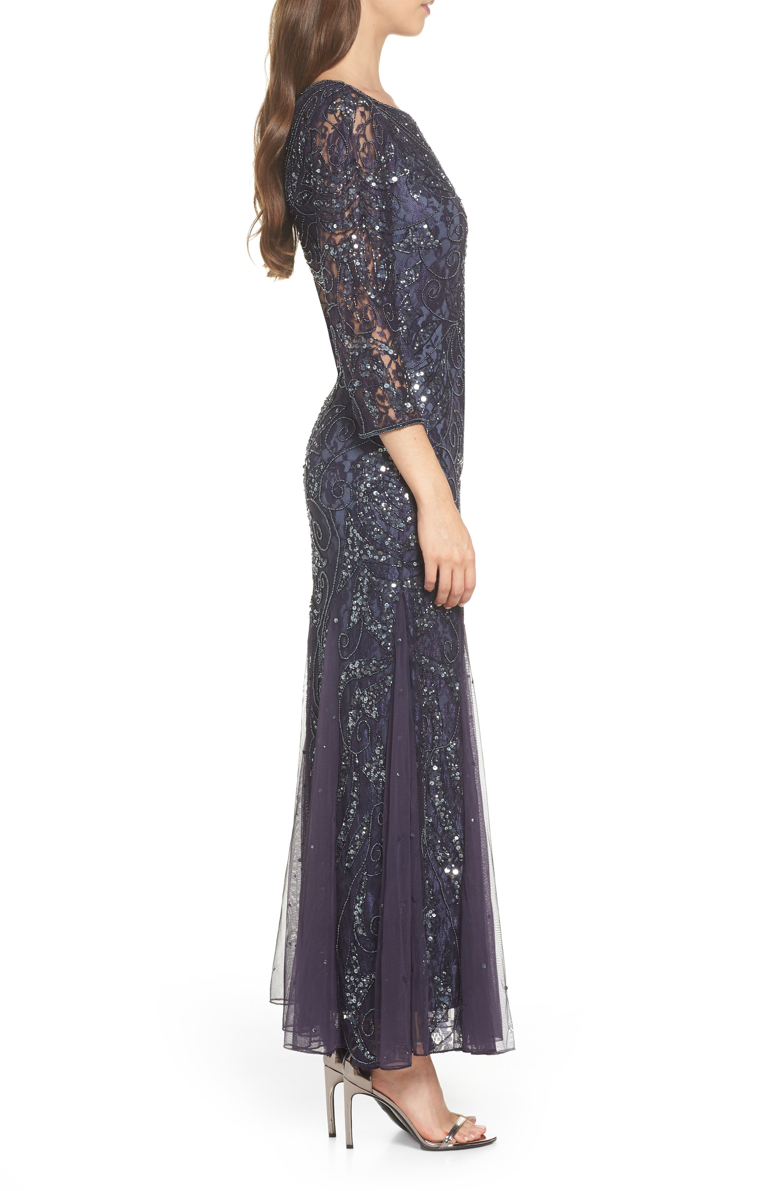 PISARRO NIGHTS, Beaded Lace Gown, Alternate thumbnail 4, color, 020