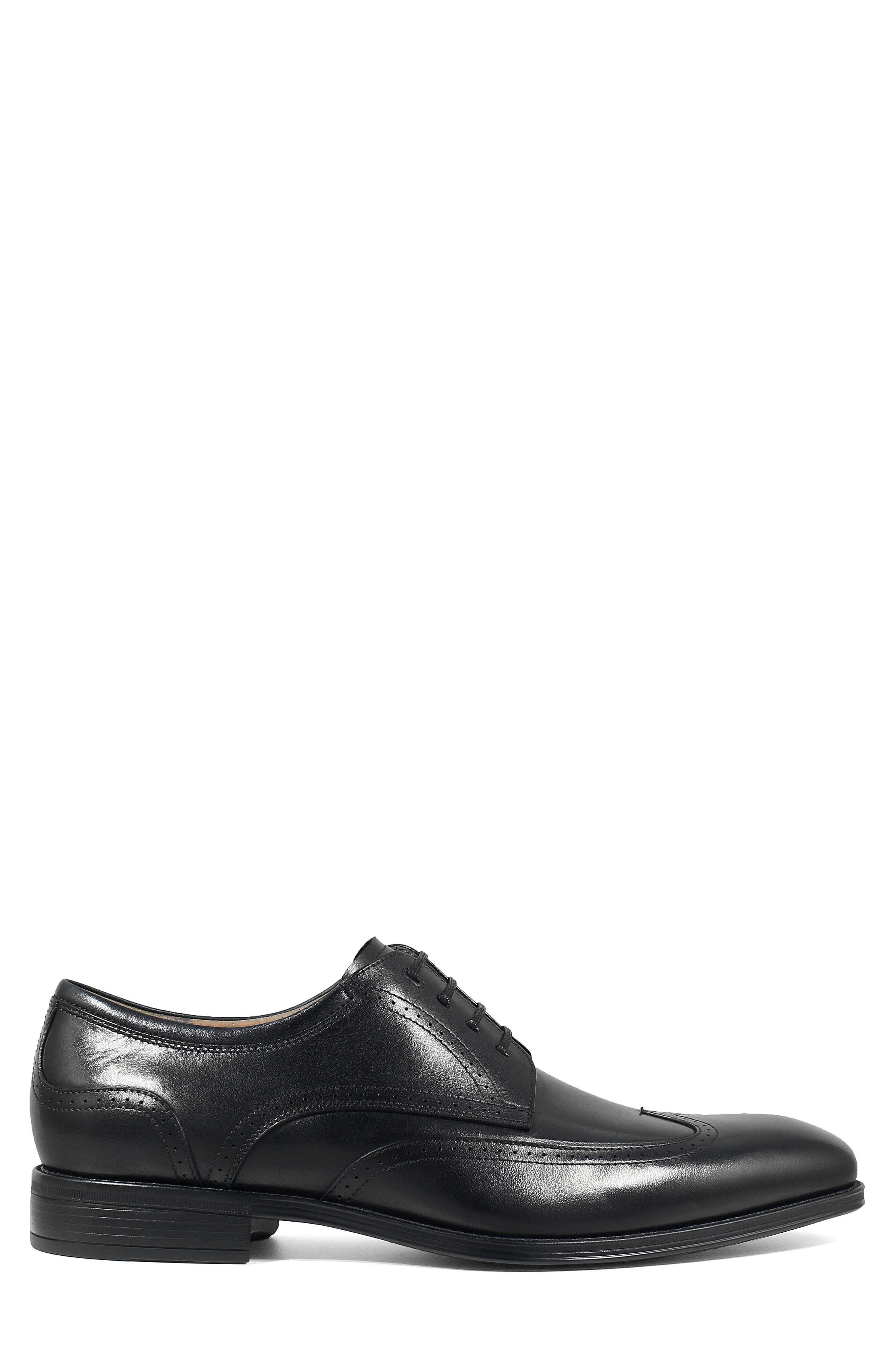 FLORSHEIM, Cardinelli Wingtip, Alternate thumbnail 3, color, BLACK LEATHER