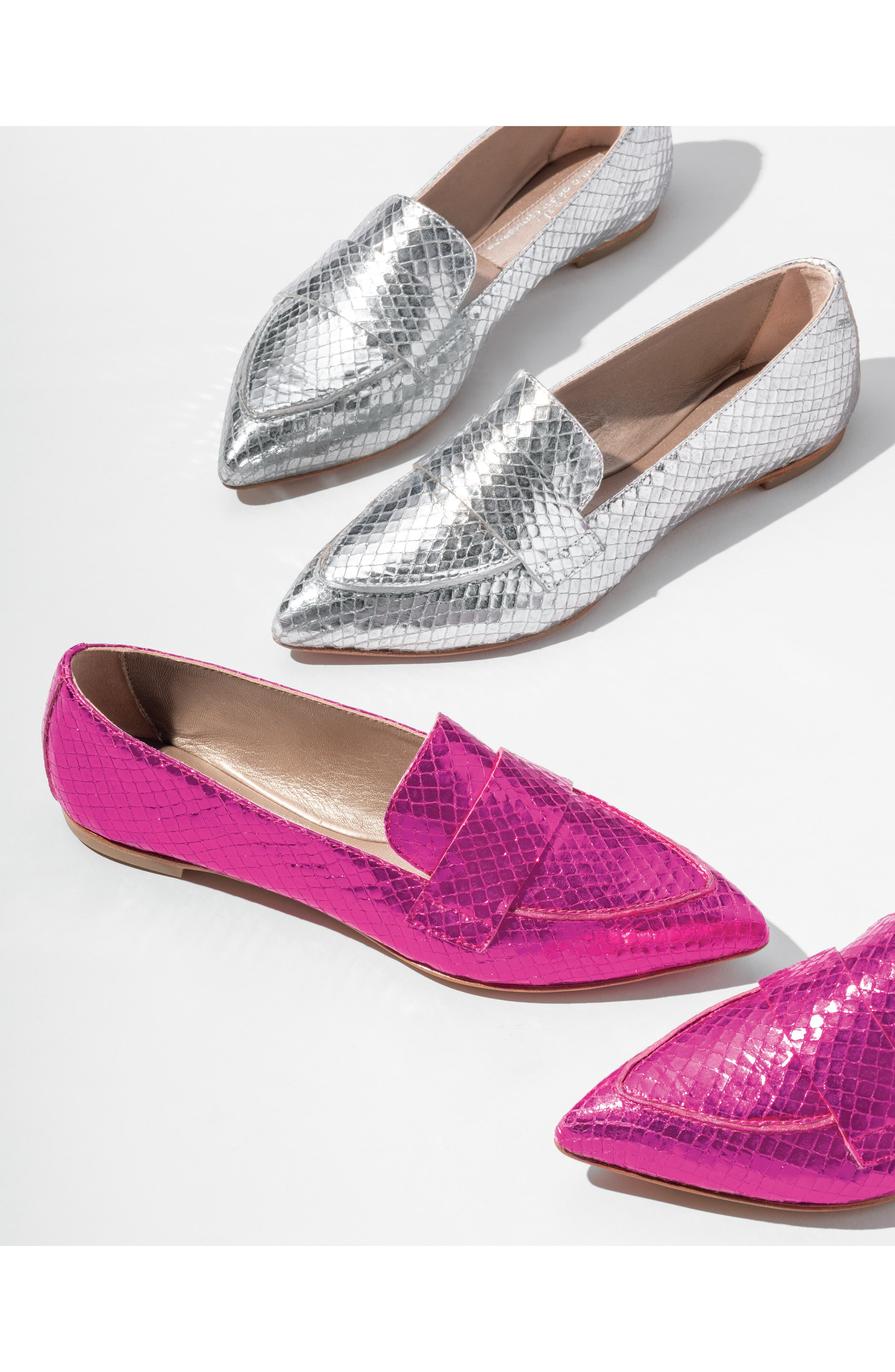 AGL, Softy Pointy Toe Moccasin Loafer, Alternate thumbnail 7, color, OCEAN PATENT