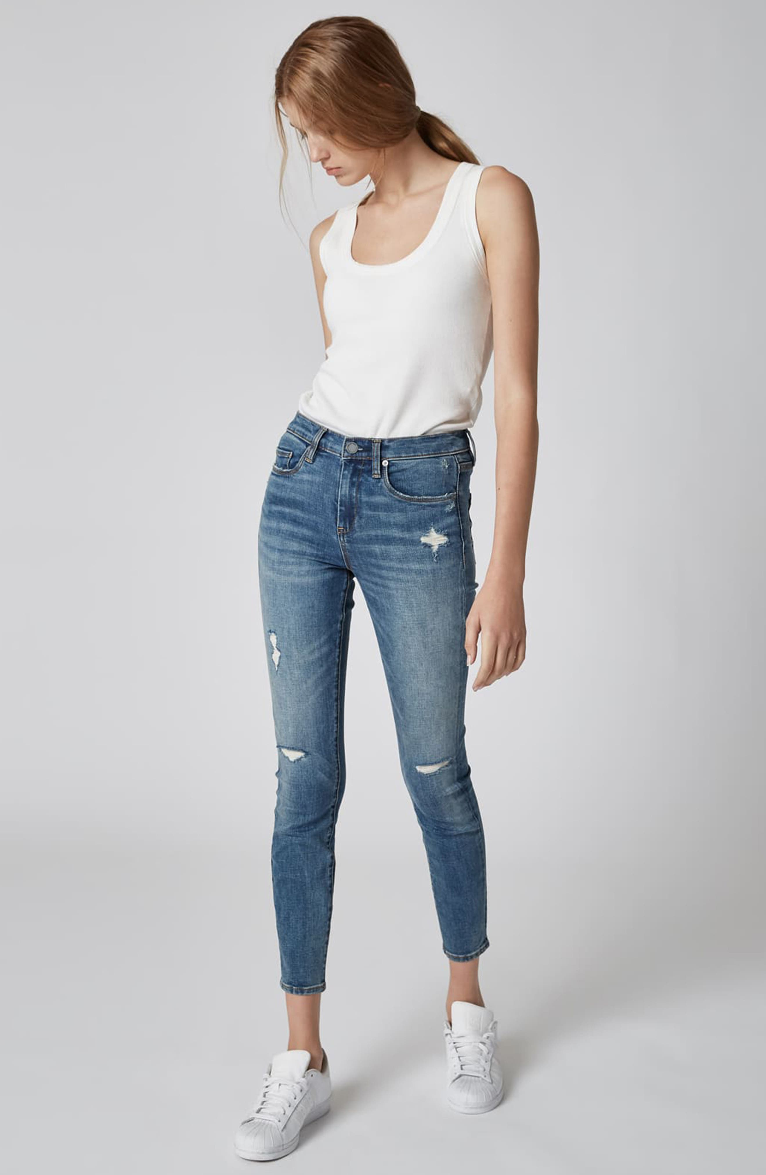 BLANKNYC, The Bond Ripped Skinny Jeans, Alternate thumbnail 5, color, JERSEY GIRLS