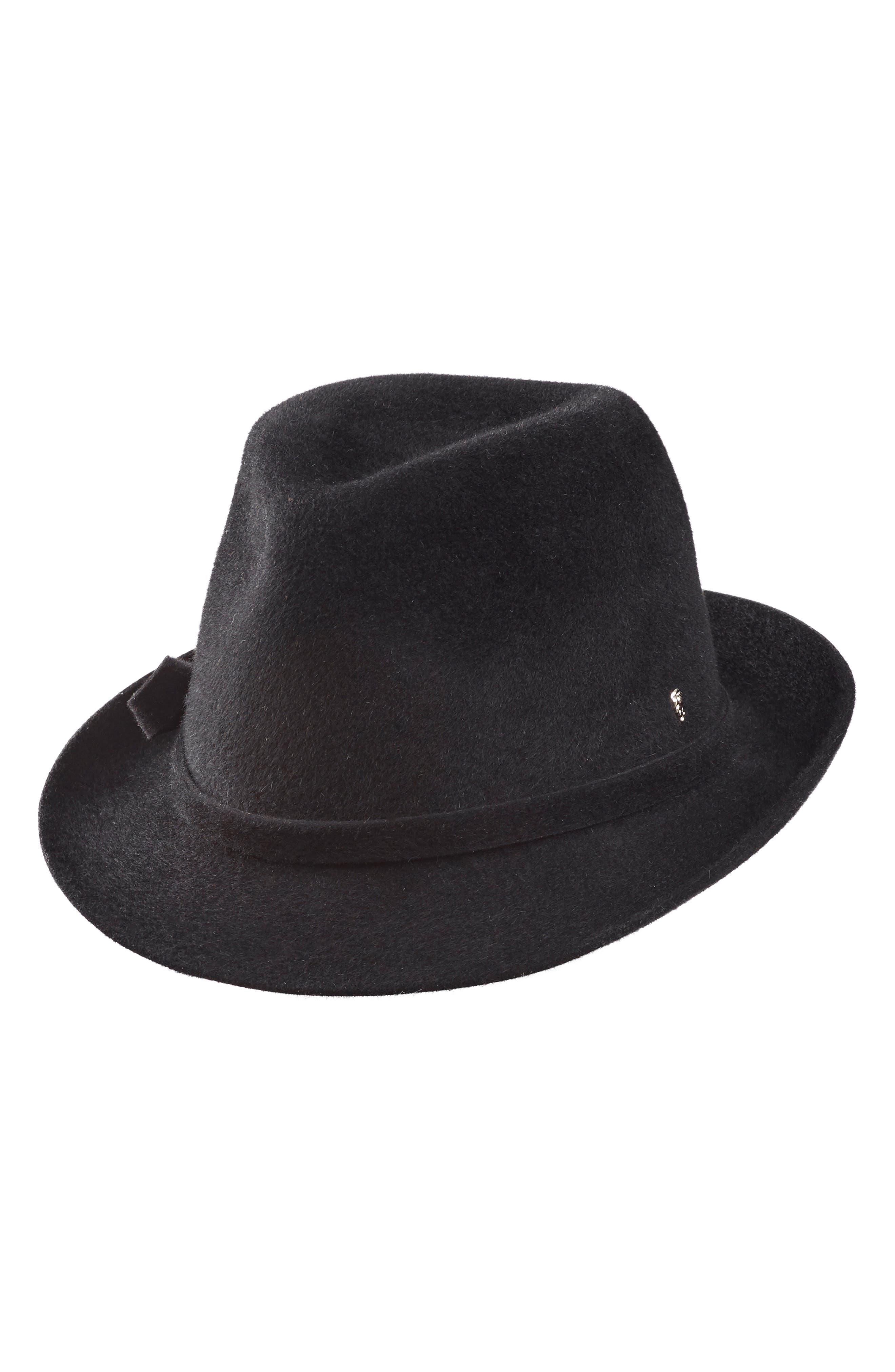 HELEN KAMINSKI Fur Felt Fedora, Main, color, BLACK