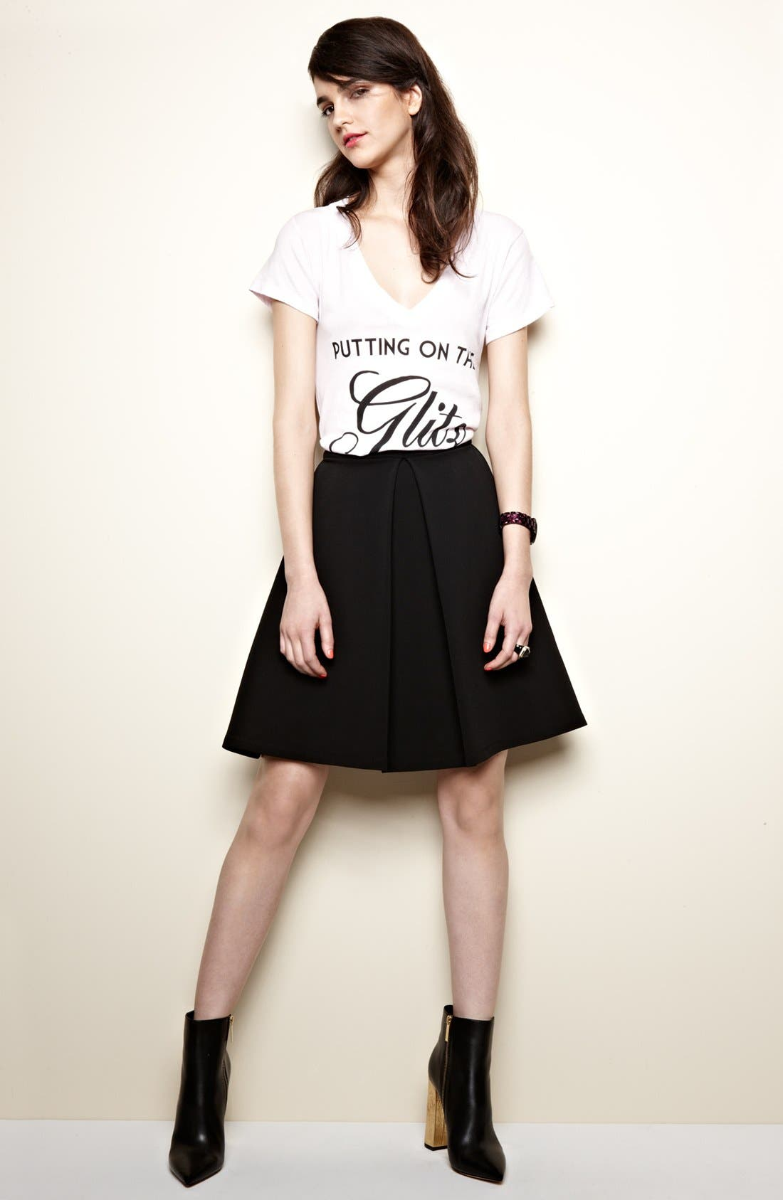 DEVLIN, Pleated Skirt, Alternate thumbnail 3, color, 001