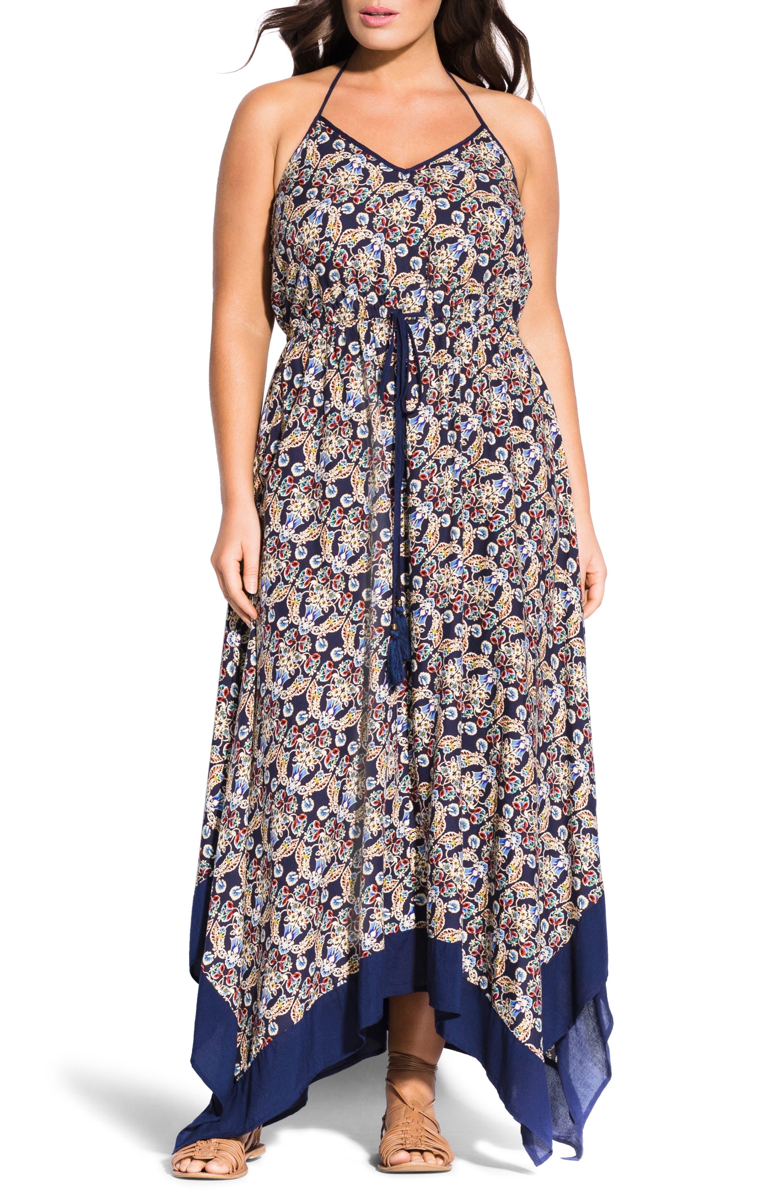 Plus Size City Chic Boho Border Handkerchief Hem Maxi Dress, Blue