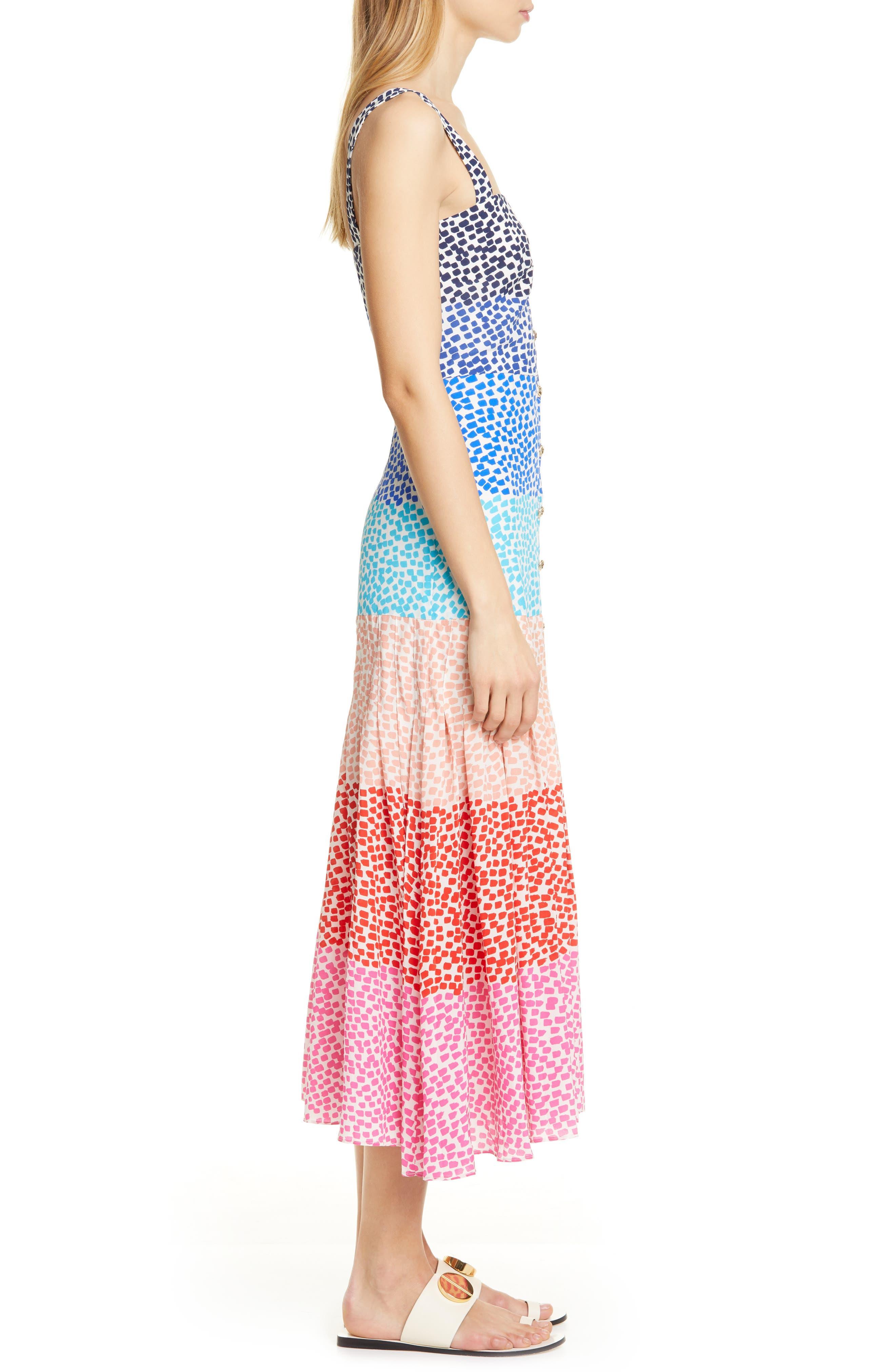 SALONI, Karen Stripe Silk Dress, Alternate thumbnail 3, color, RAINBOW GRADIENT PLMT