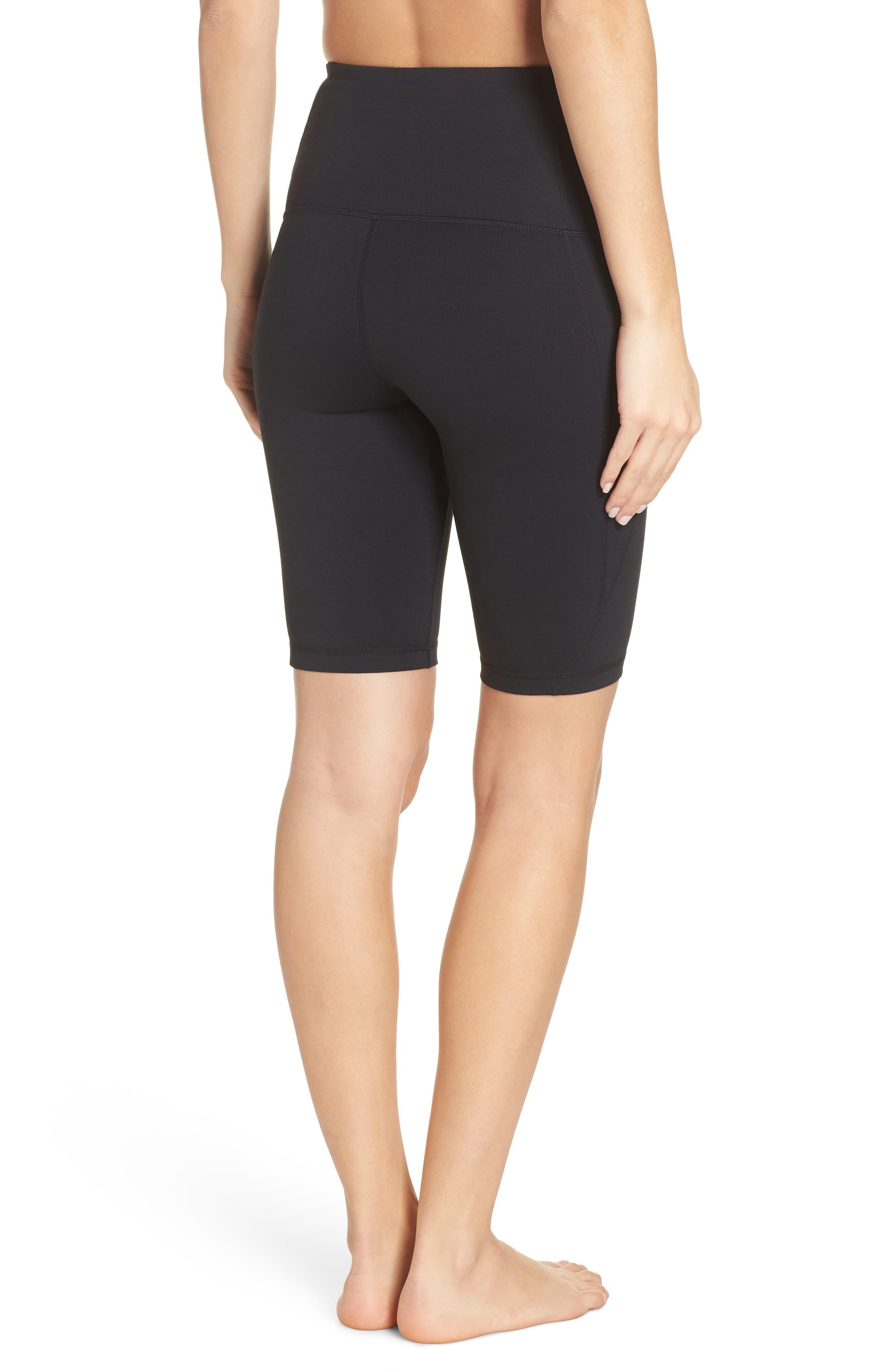 ZELLA, Hatha High Waist Bike Shorts, Alternate thumbnail 2, color, BLACK