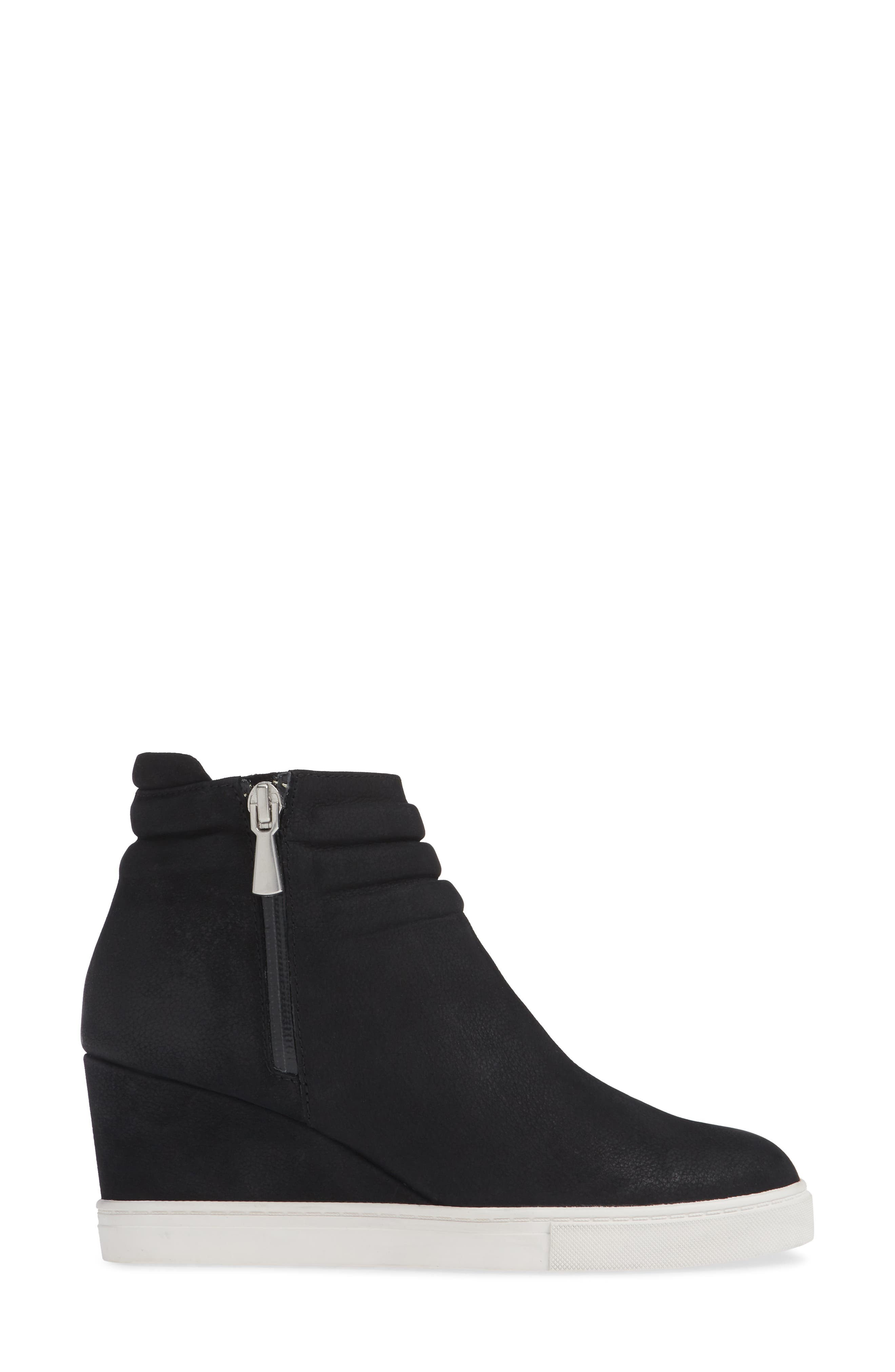 LINEA PAOLO, Flo Waterproof Wedge Bootie, Alternate thumbnail 3, color, BLACK LEATHER
