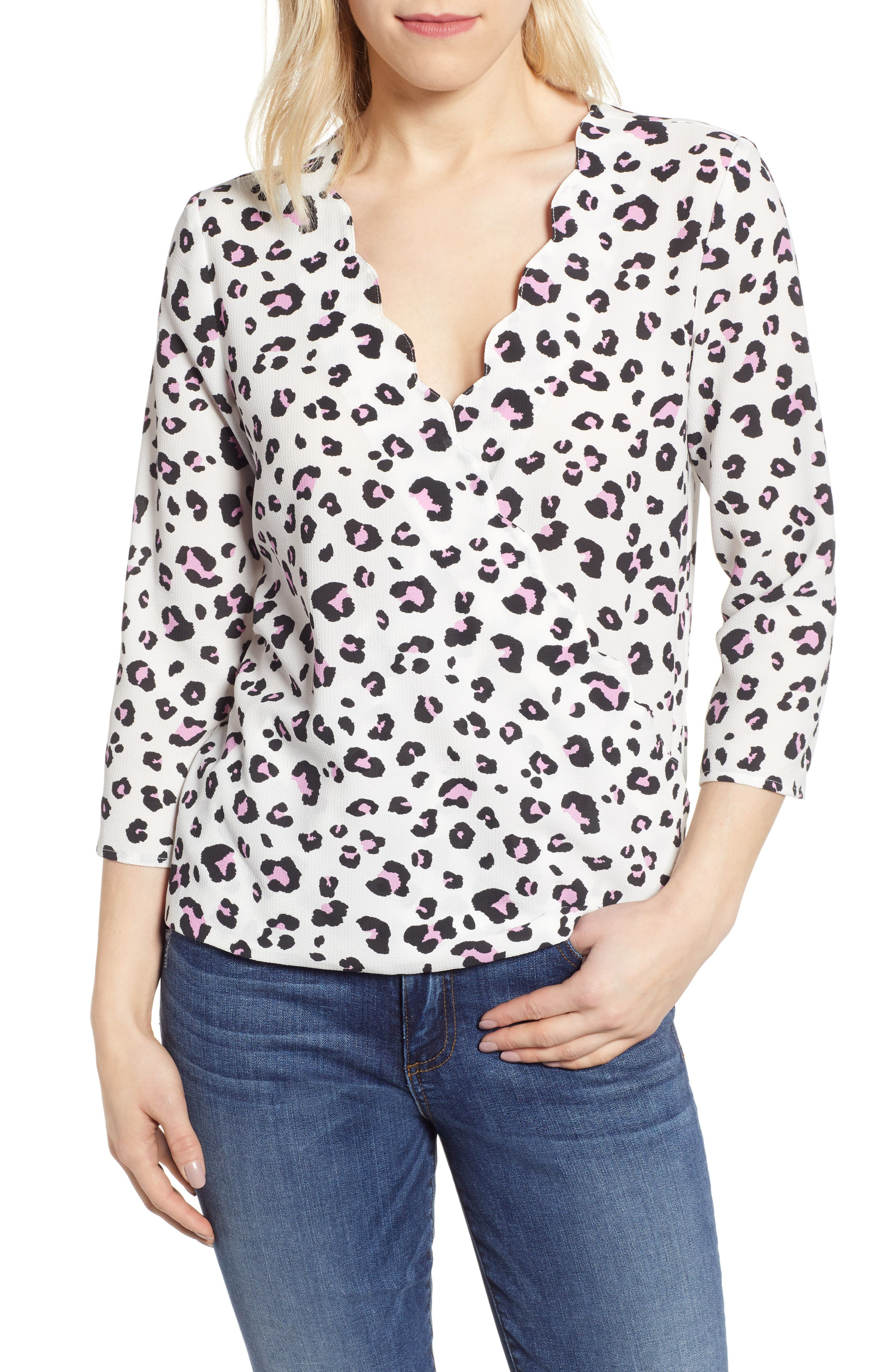 GIBSON, x International Women's Day Rebecca Scalloped Wrap Top, Main thumbnail 1, color, IVORY/ BLACK LEOPARD