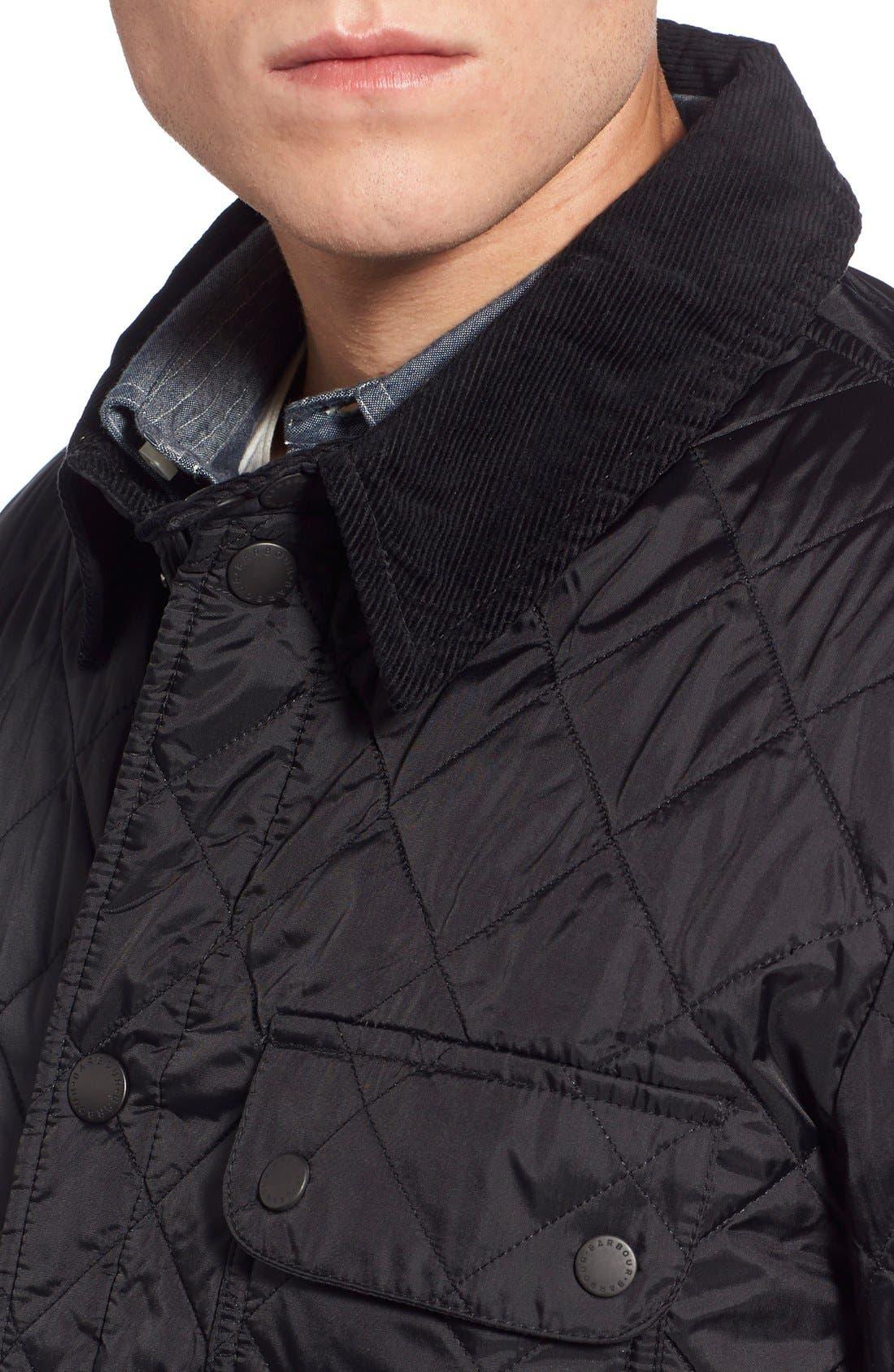 BARBOUR, 'Tinford' Regular Fit Quilted Jacket, Alternate thumbnail 4, color, 001