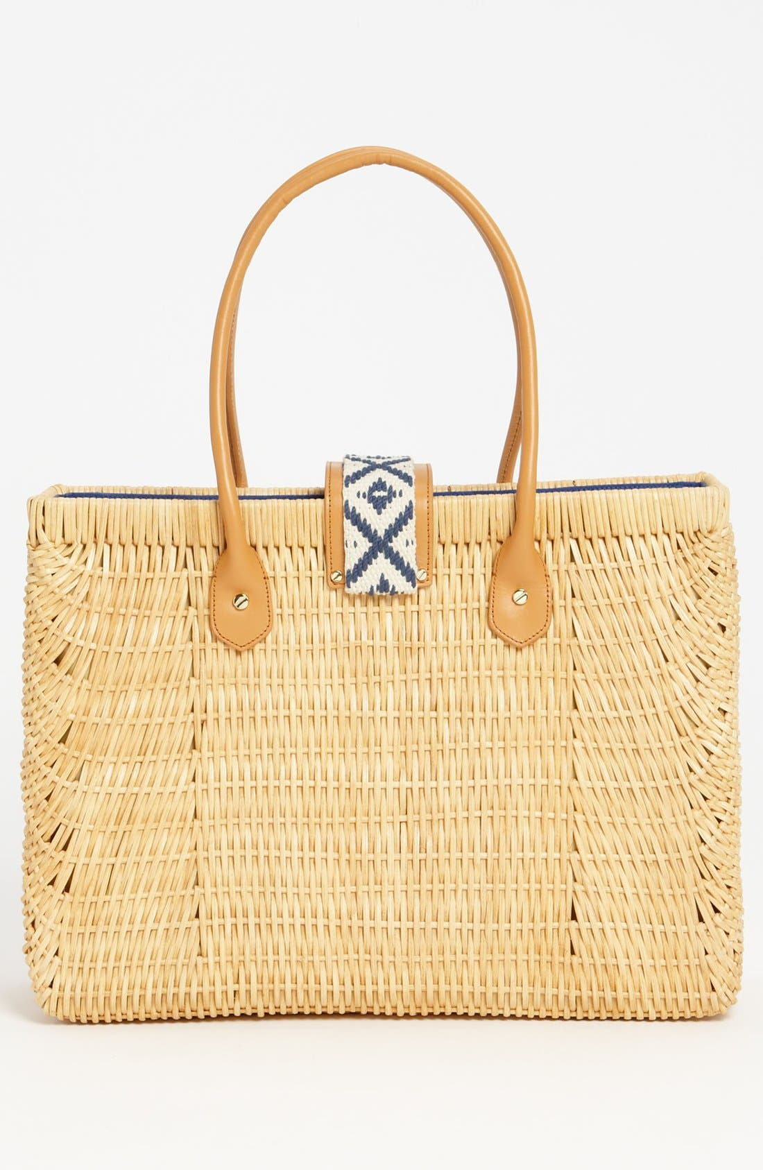 TORY BURCH, Rattan Tote, Alternate thumbnail 3, color, 282