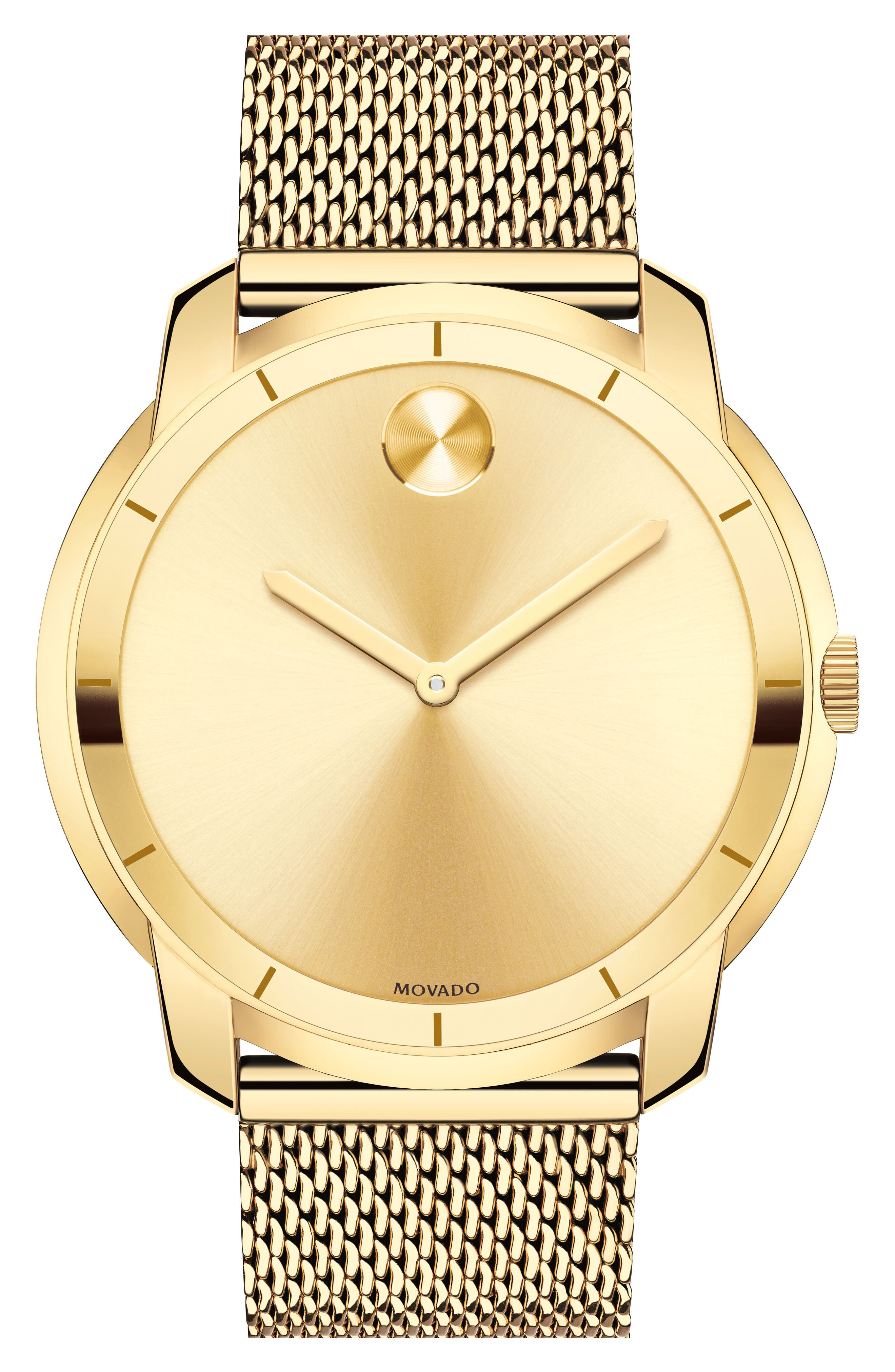 MOVADO, 'Bold' Mesh Strap Watch, 44mm, Alternate thumbnail 4, color, GOLD