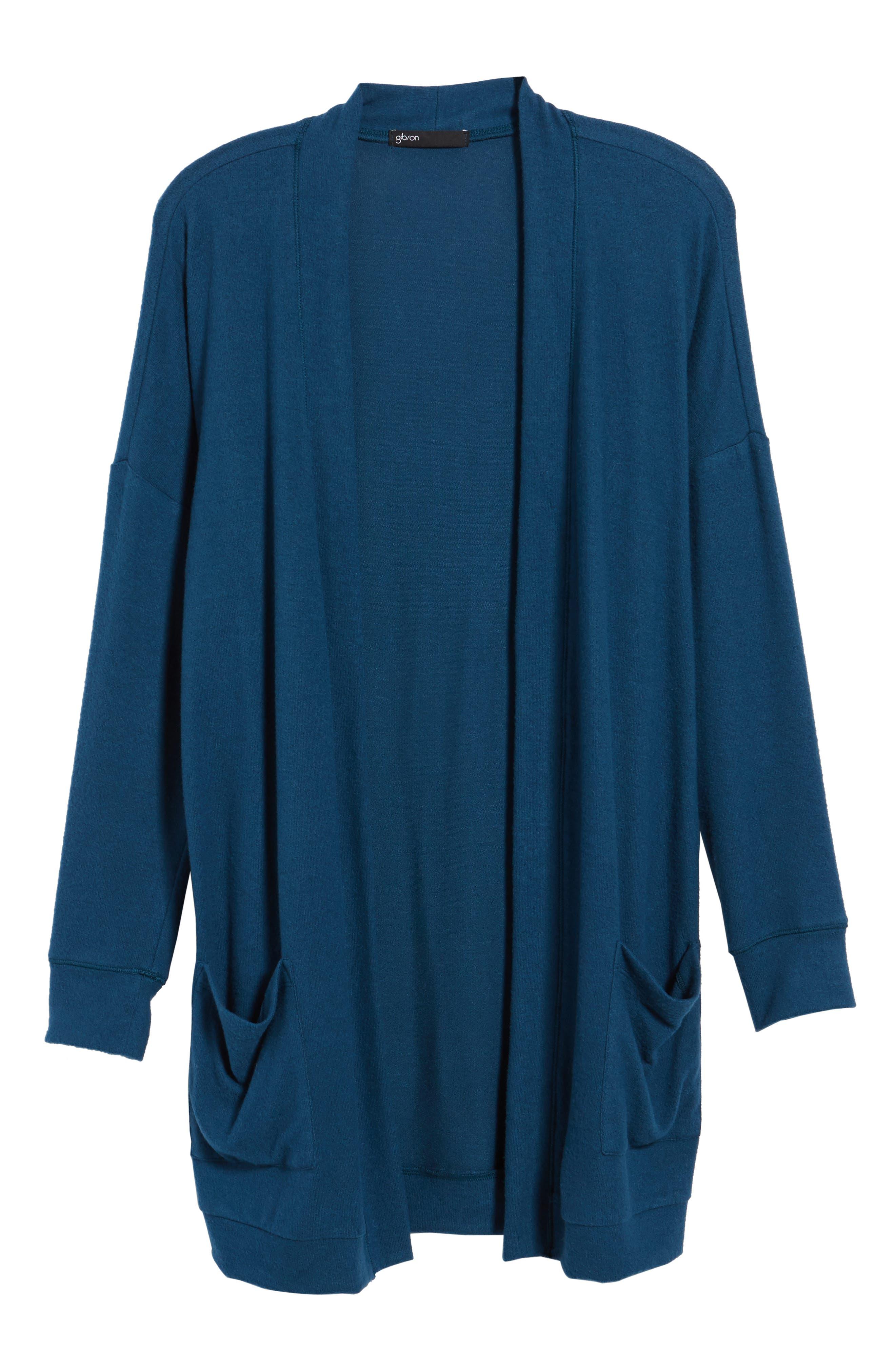 GIBSON, Rib Knit Cardigan, Alternate thumbnail 6, color, BLUE CERAMIC