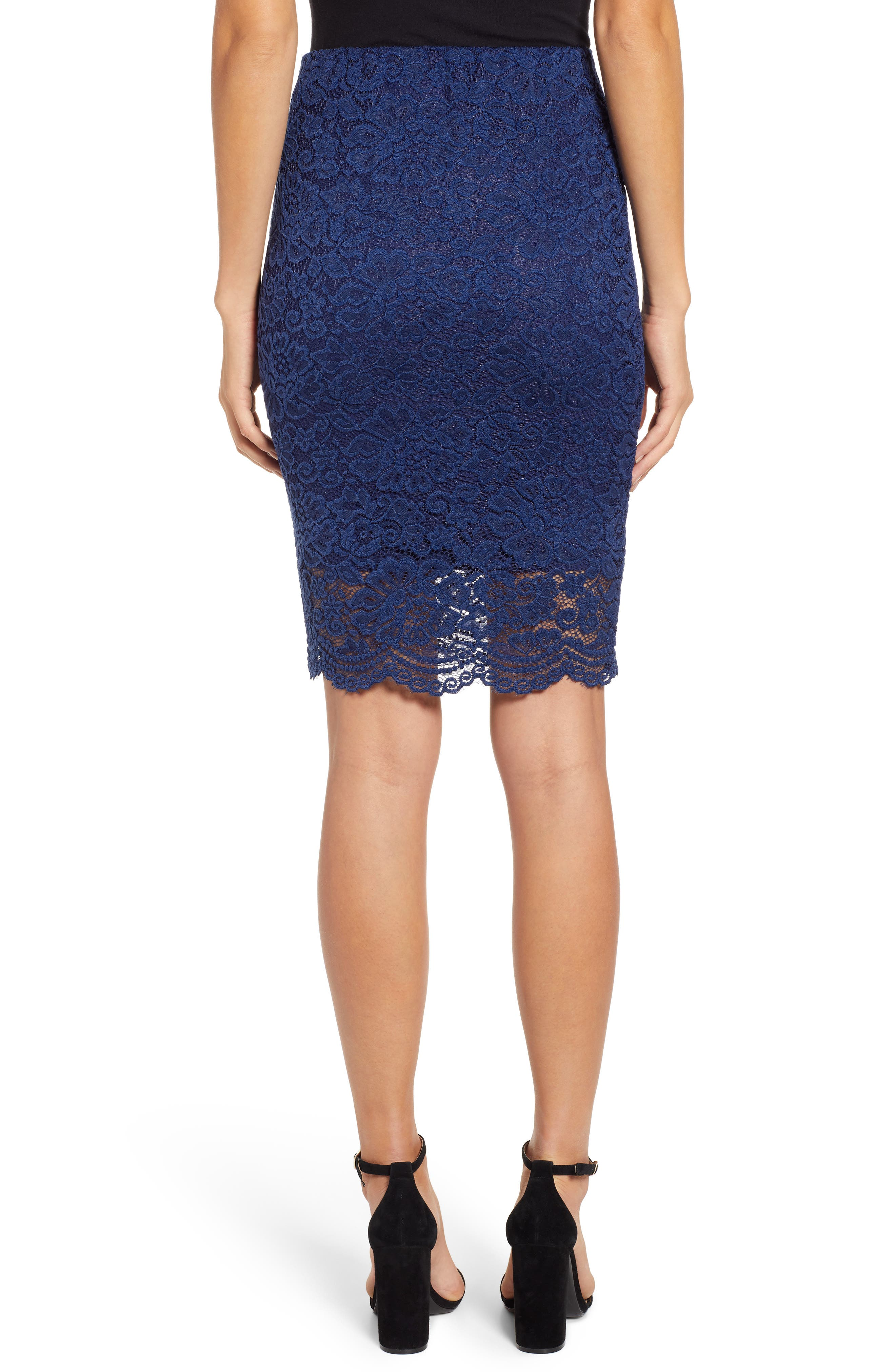 ROSEMUNDE, Filippa Scalloped Lace Skirt, Alternate thumbnail 2, color, NAVY PEONY