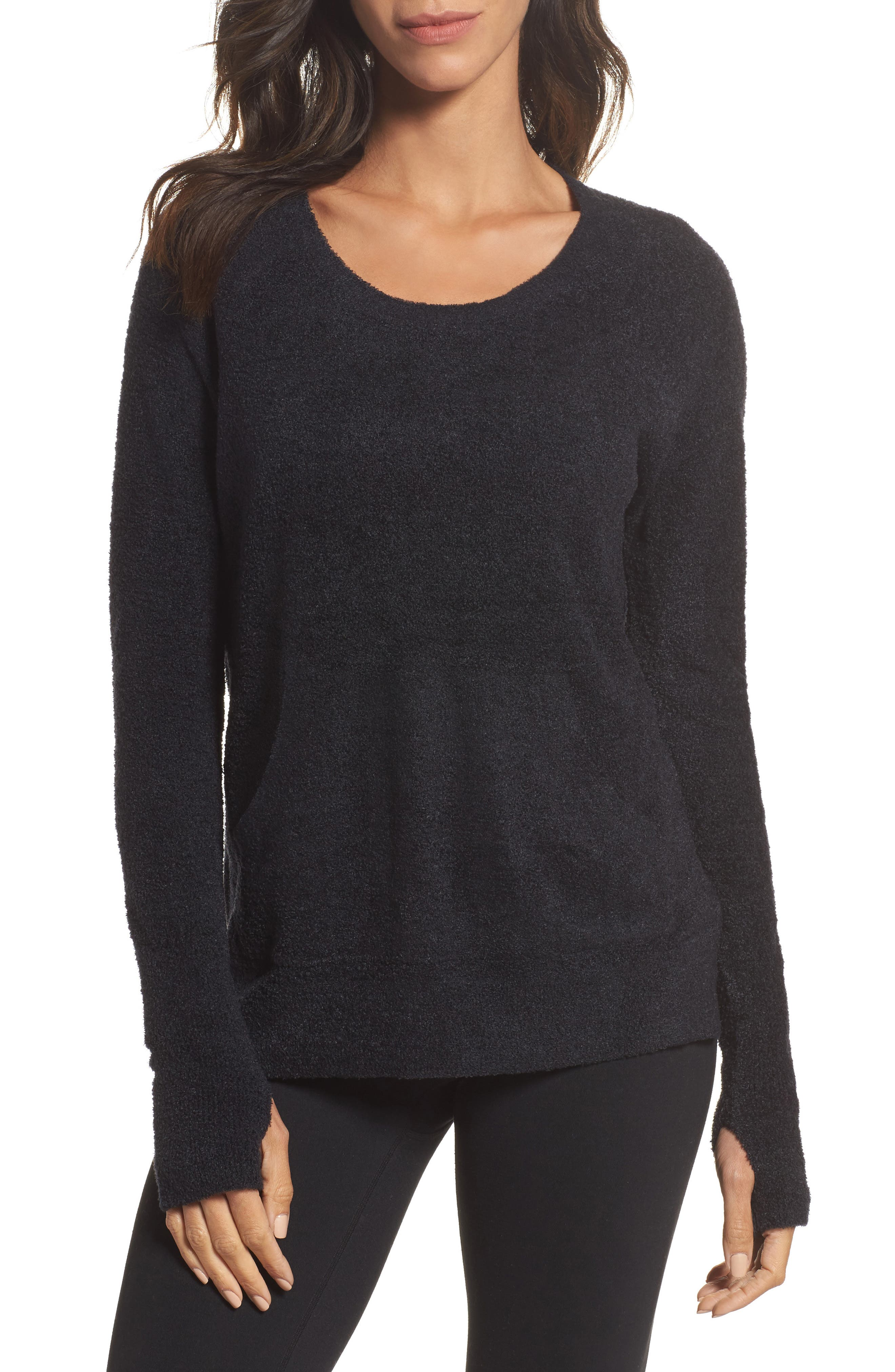 BAREFOOT DREAMS<SUP>®</SUP>, Cozychic Lite<sup>®</sup> Pullover, Main thumbnail 1, color, BLACK