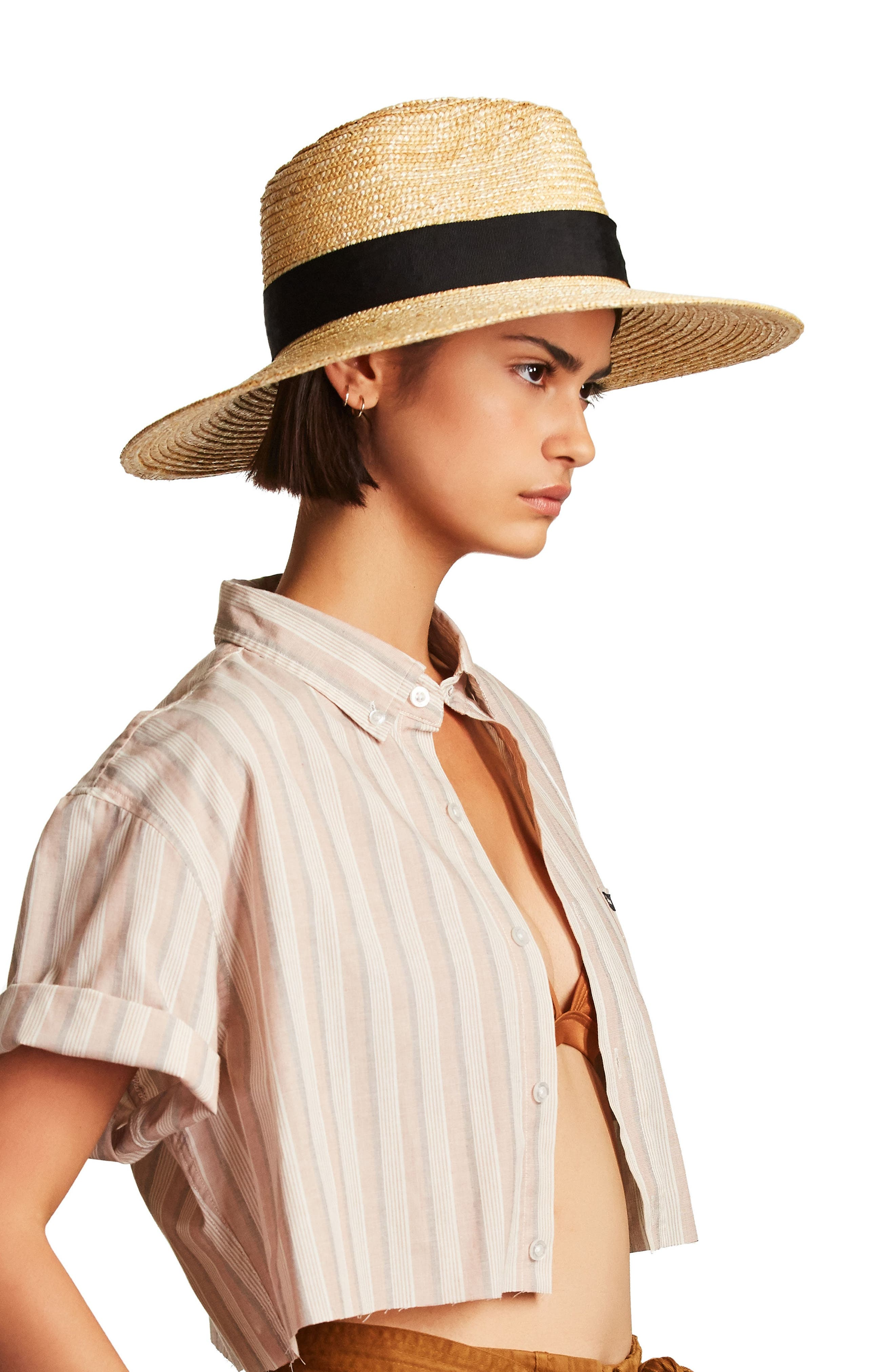 BRIXTON, 'Joanna' Straw Hat, Alternate thumbnail 6, color, LILAC