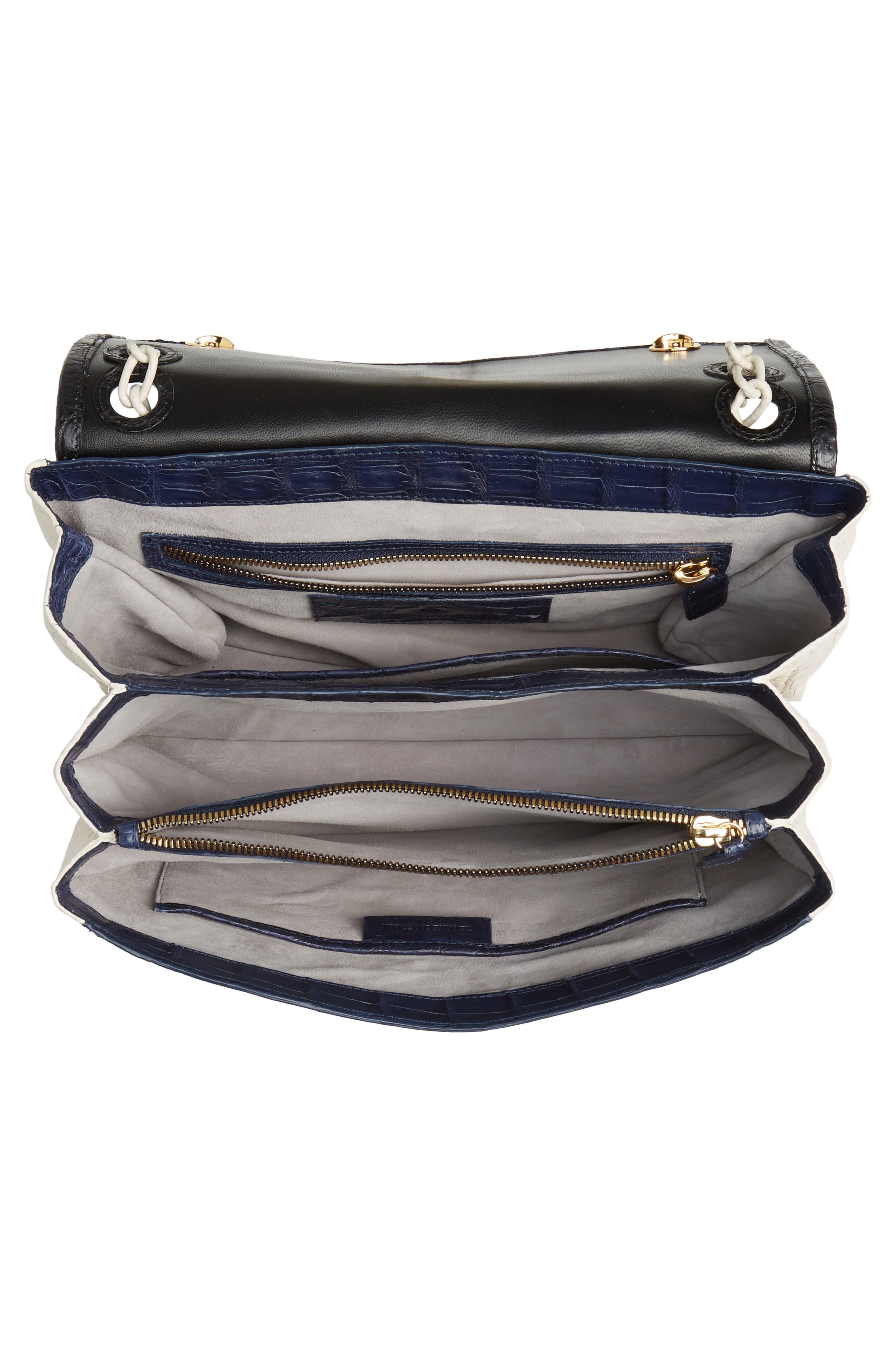 NANCY GONZALEZ, Medium Madison Genuine Crocodile Shoulder Bag, Alternate thumbnail 5, color, BLACK / NAVY/ LIGHT GREY