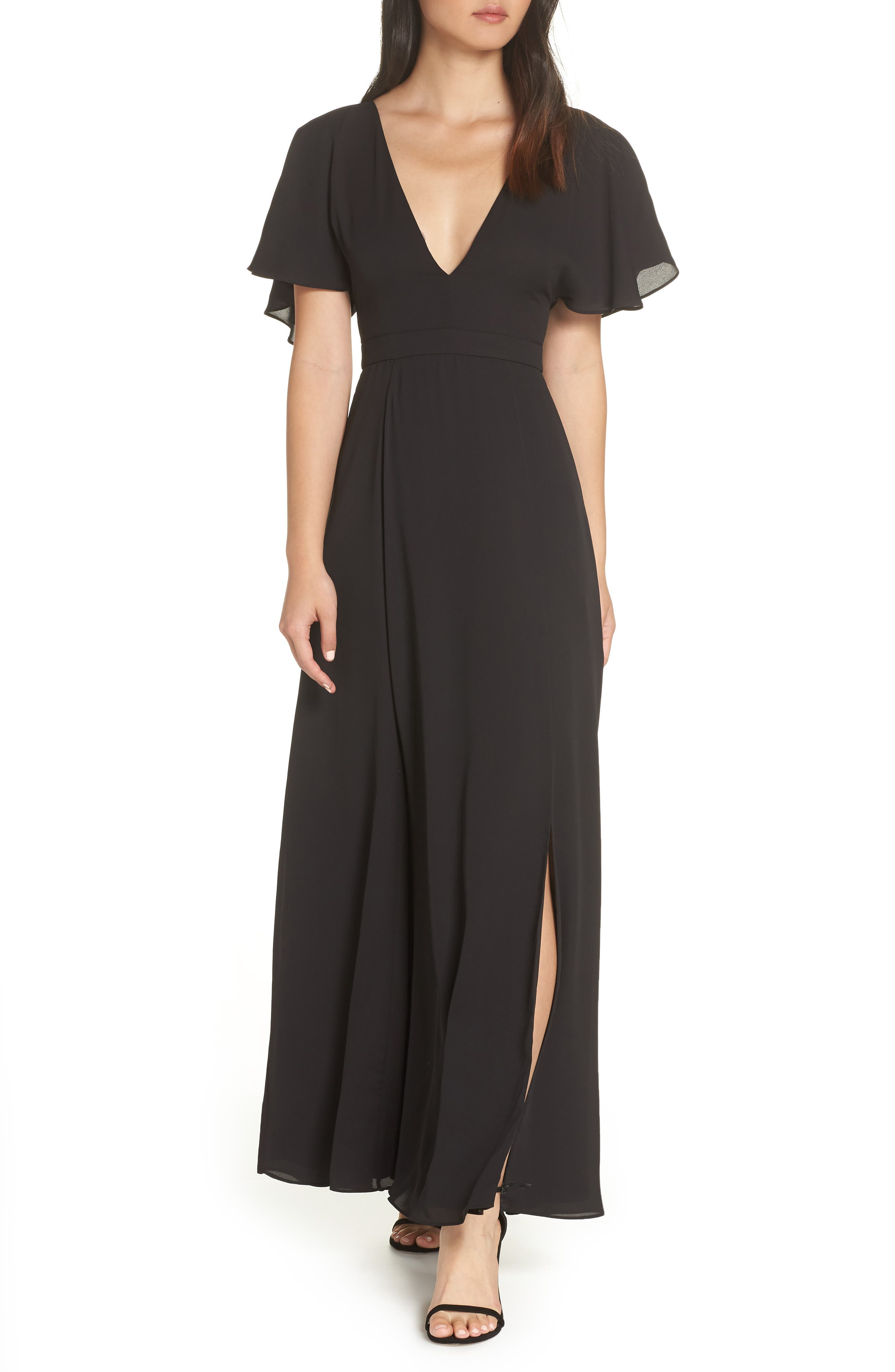 Fame And Partners A-Line Gown, Black