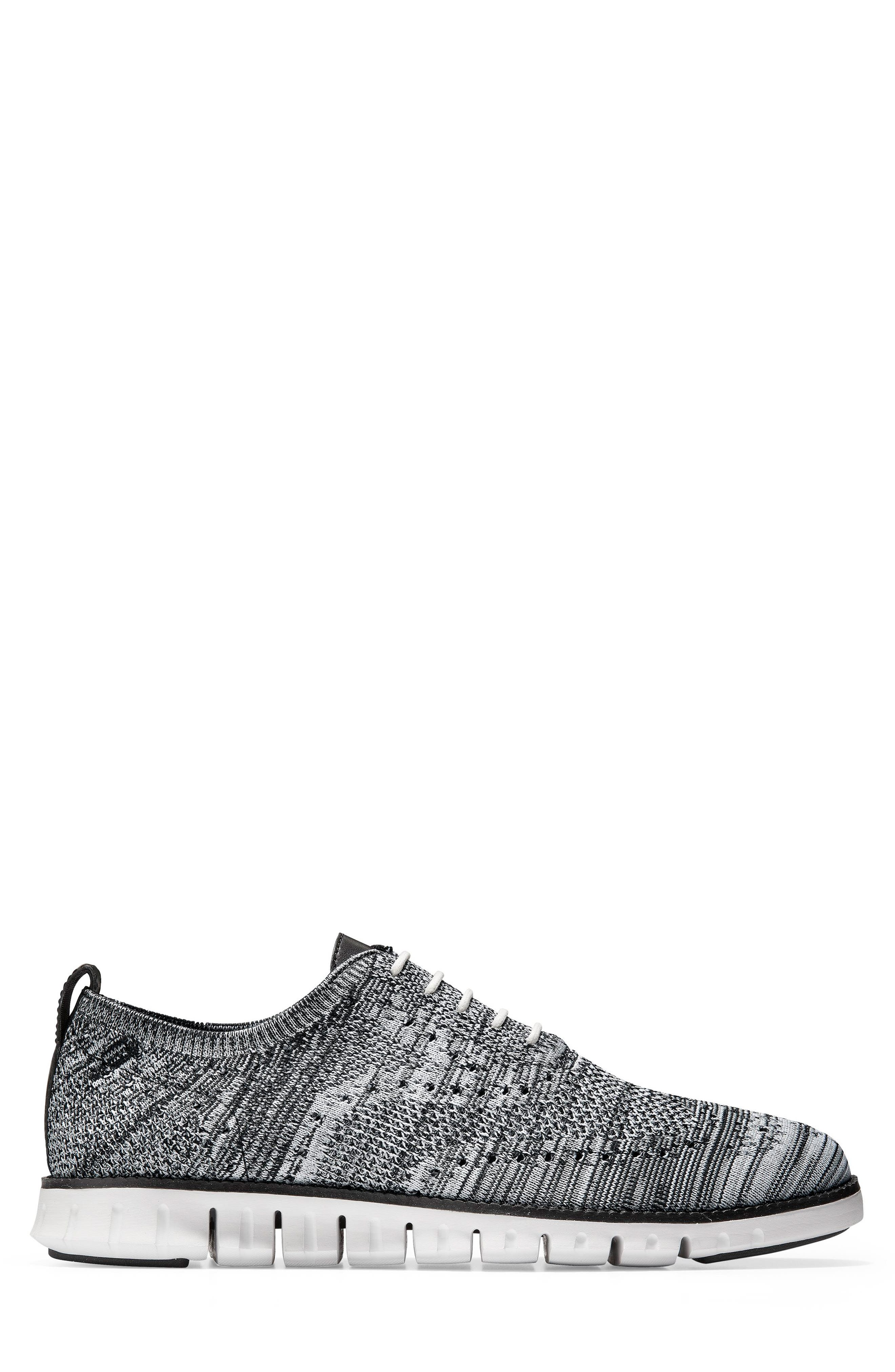 COLE HAAN, ZeroGrand Stitchlite Oxford, Alternate thumbnail 3, color, BLACK/ OPTIC WHITE/ SLEET KNIT
