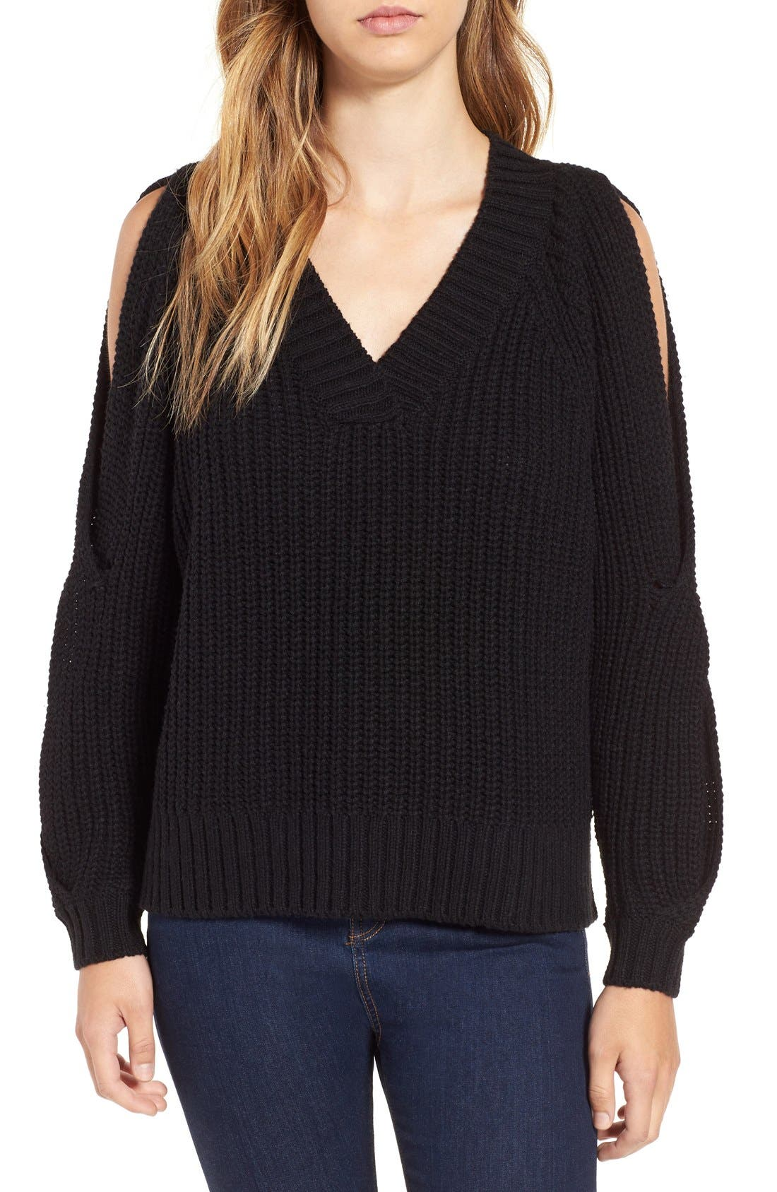 LEITH, Ribbed Cold Shoulder Sweater, Main thumbnail 1, color, 001
