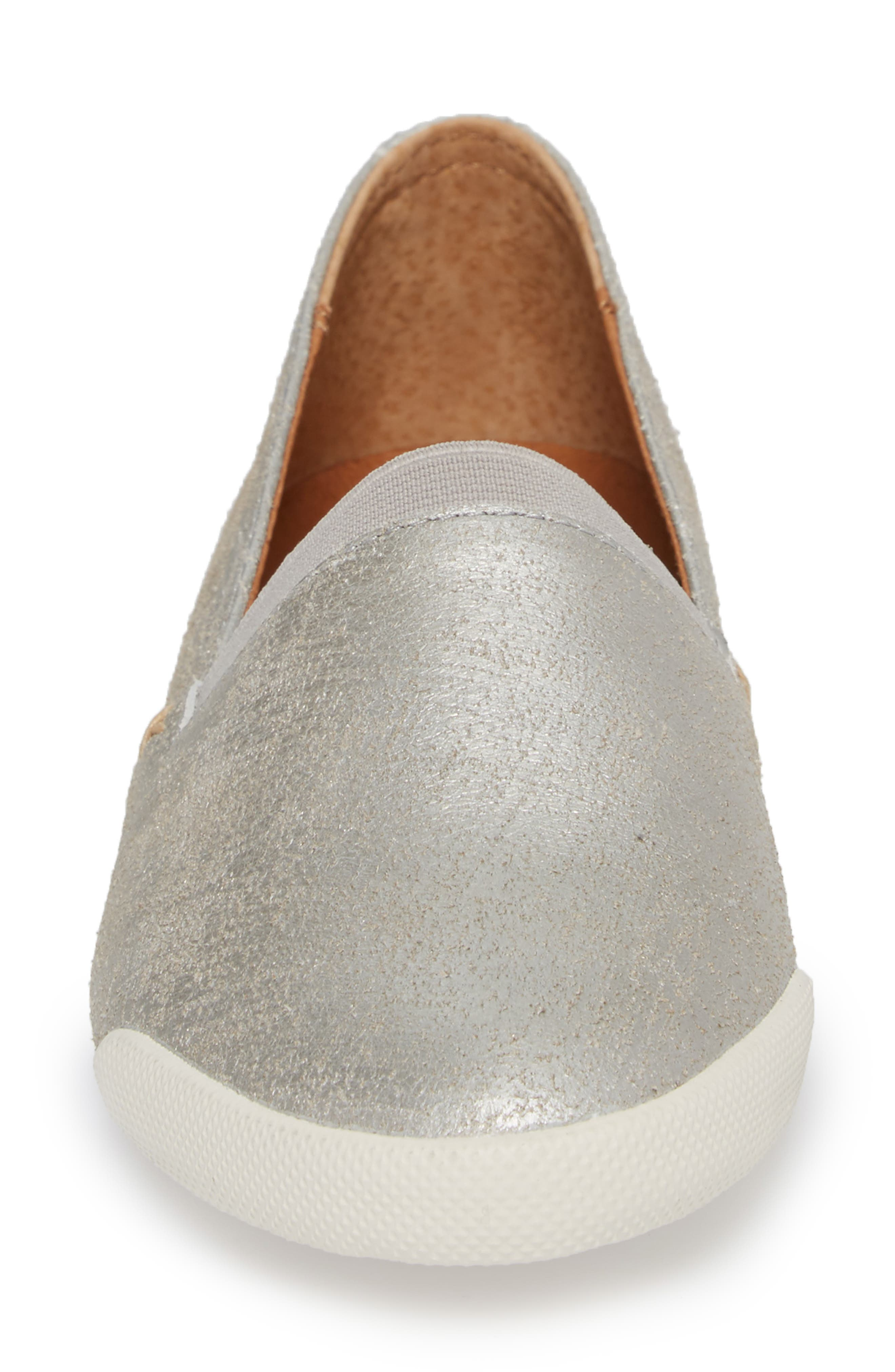 FRYE, 'Melanie' Slip-On, Alternate thumbnail 4, color, SILVER