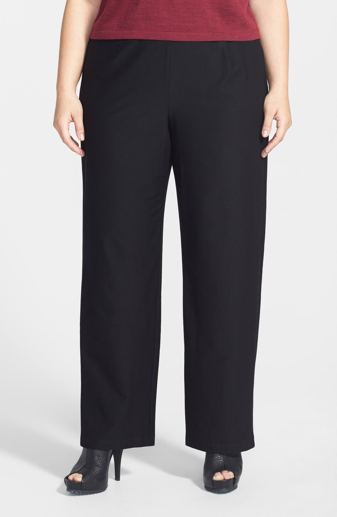 EILEEN FISHER, High Rise Straight Leg Crepe Pants, Main thumbnail 1, color, BLACK