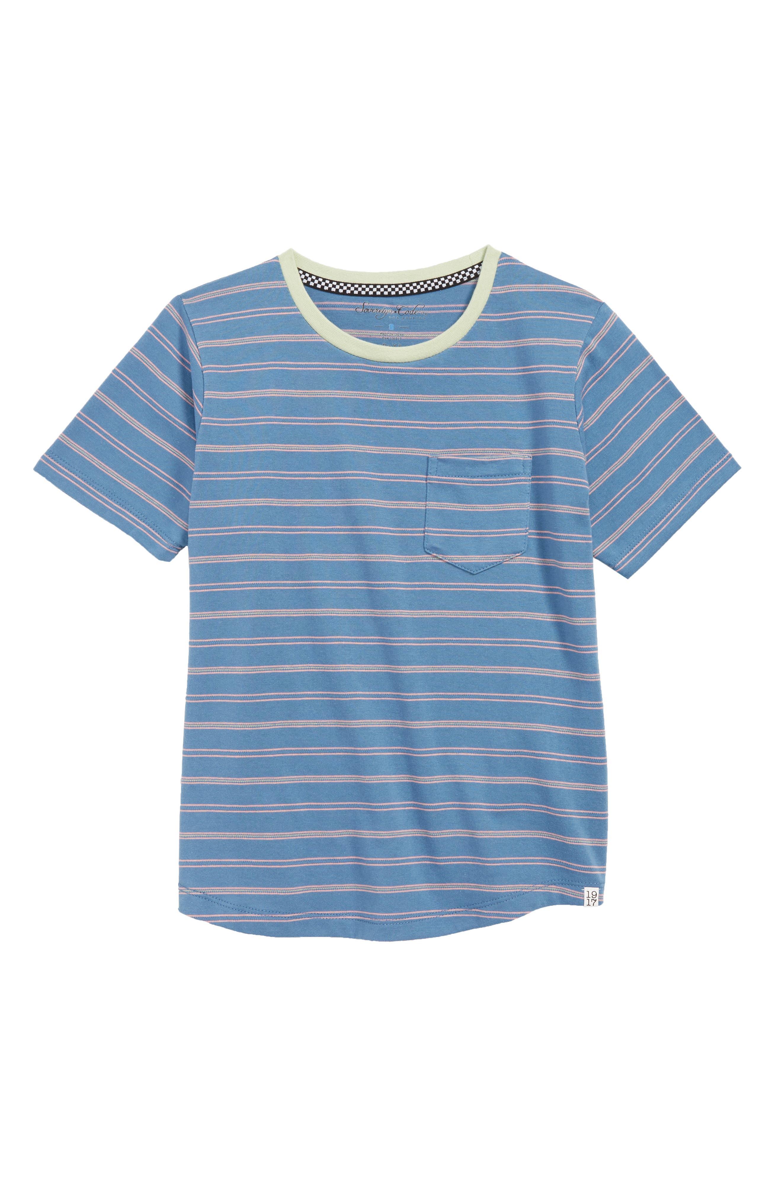 SOVEREIGN CODE Forward Stripe T-Shirt, Main, color, BLUE