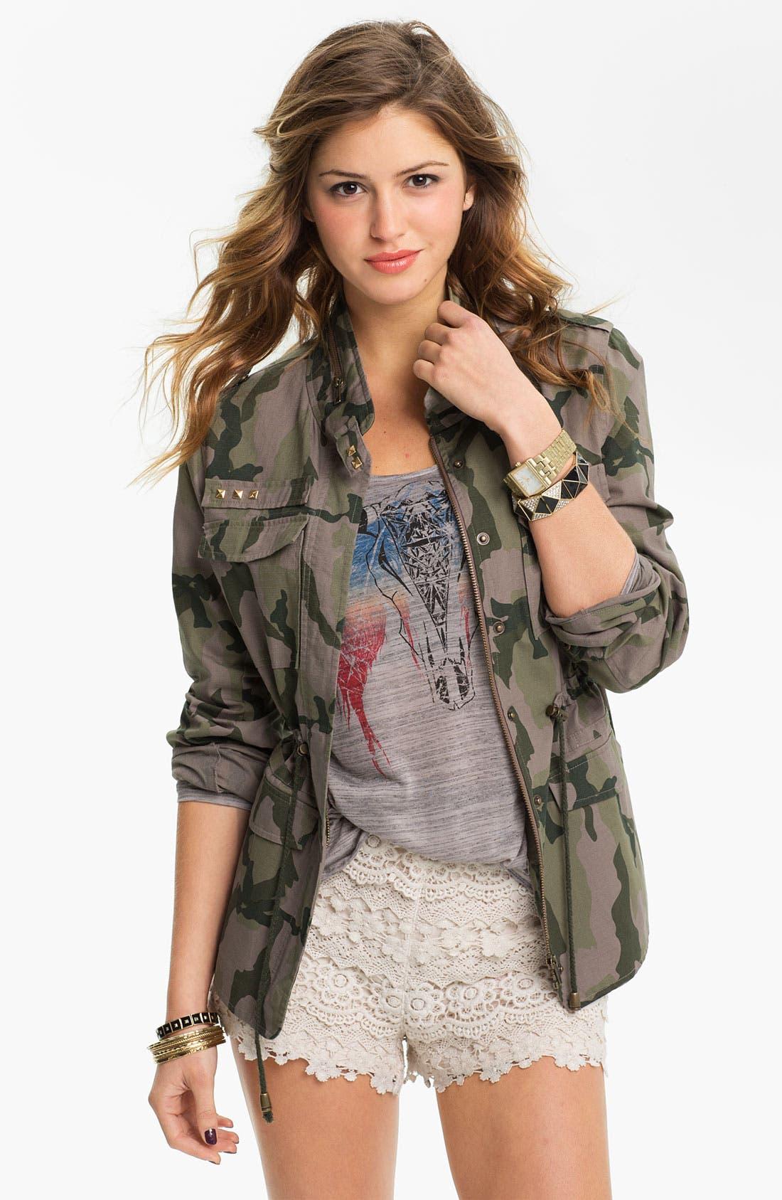 LOVE, FIRE Fire Studded Camo Army Jacket, Main, color, 305