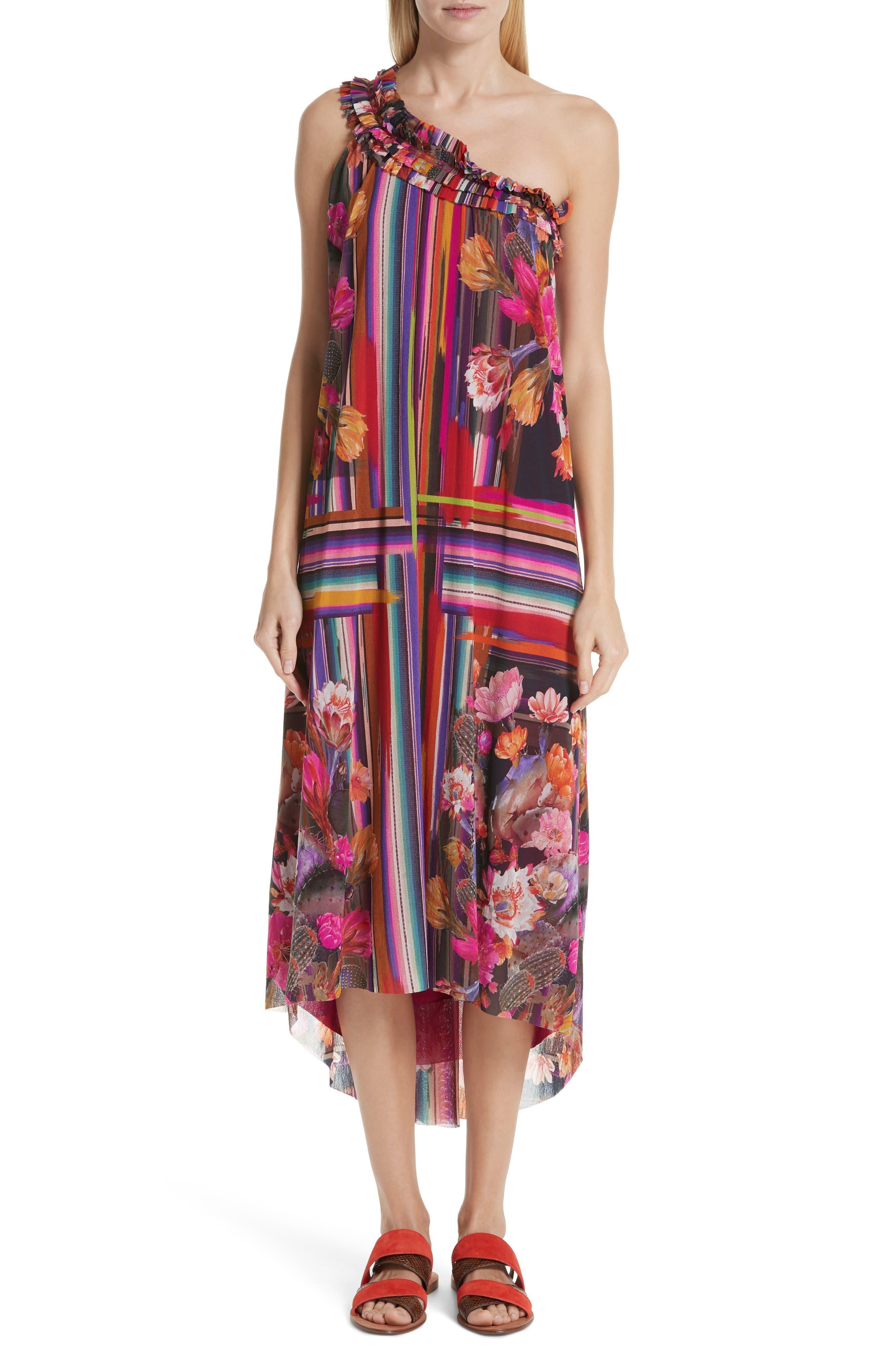 Fuzzi Cactus Print Tulle One-Shoulder Dress, Pink
