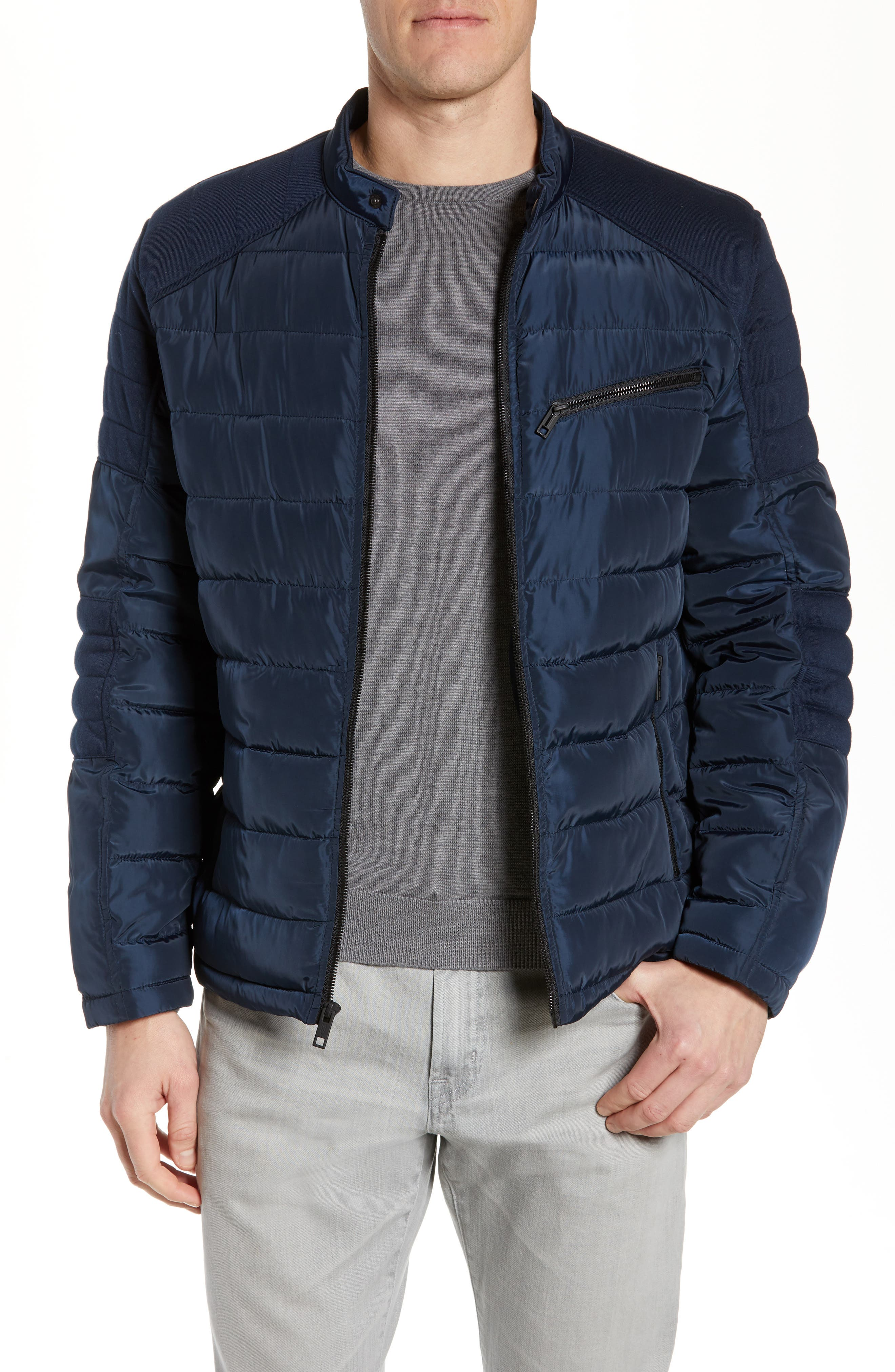MARC NEW YORK Wilsow Quilted Moto Jacket, Main, color, NAVY