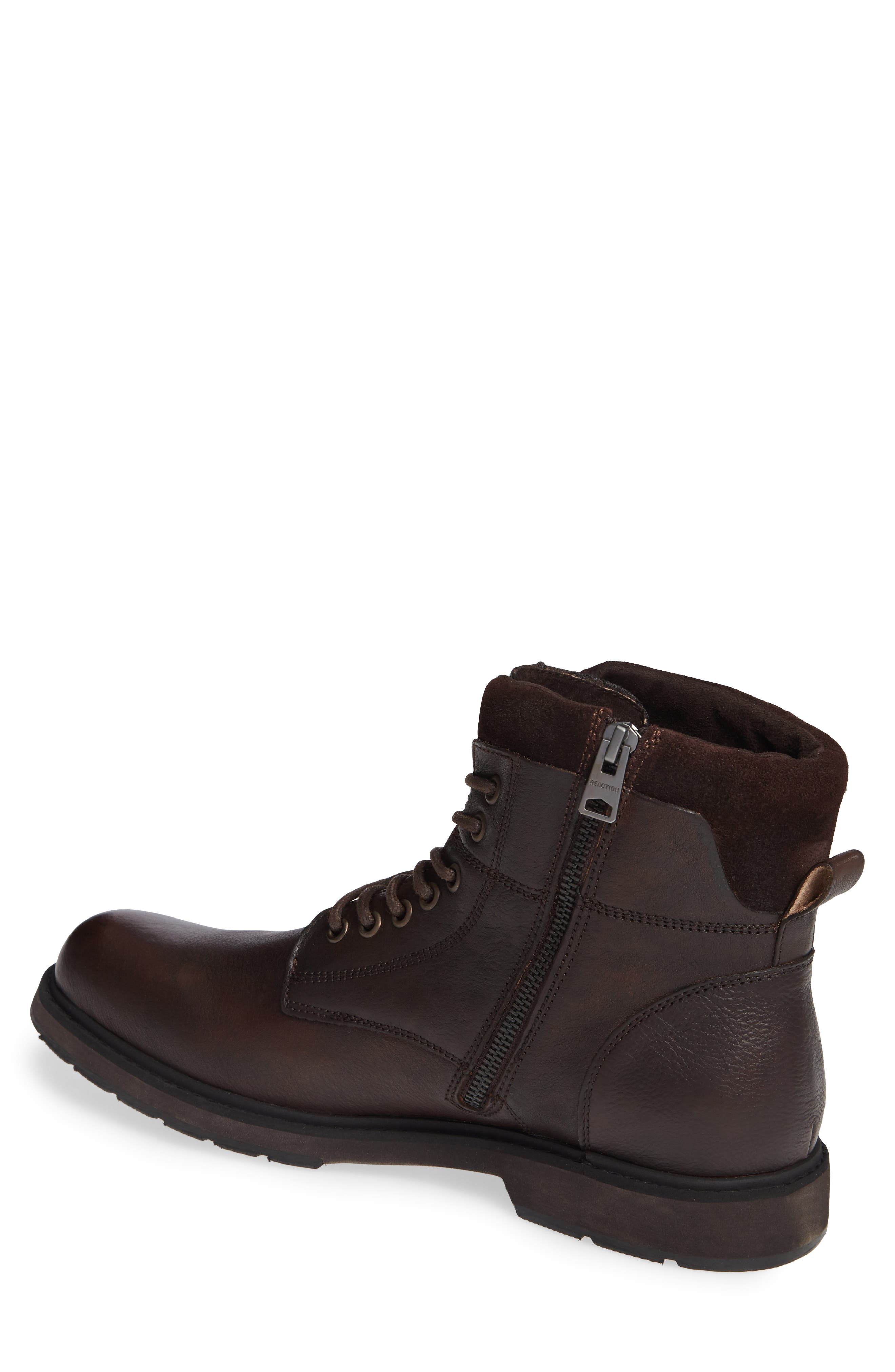 REACTION KENNETH COLE, Drue Pebbled Combat Boot, Alternate thumbnail 2, color, BROWN LEATHER