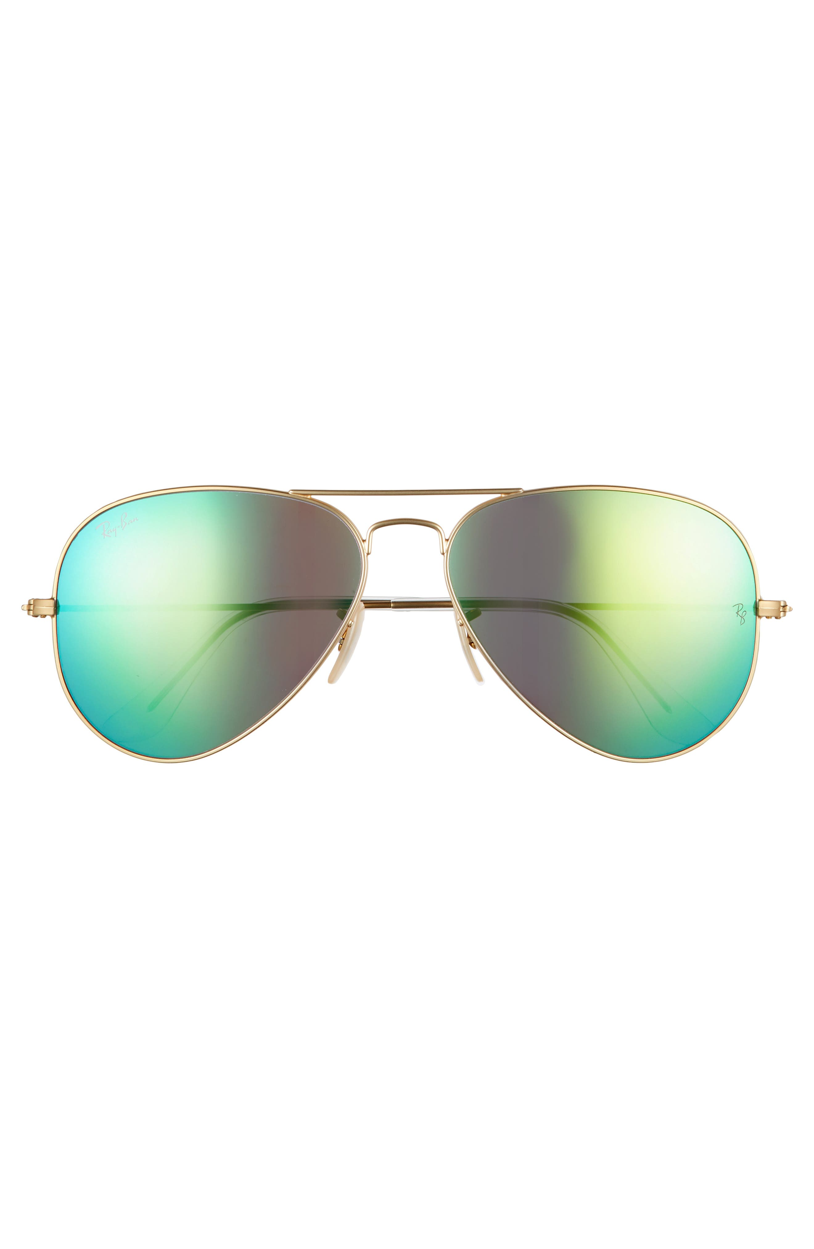RAY-BAN, 58mm Mirrored Aviator Sunglasses, Alternate thumbnail 3, color, GOLD/ GREEN FLASH MIRROR