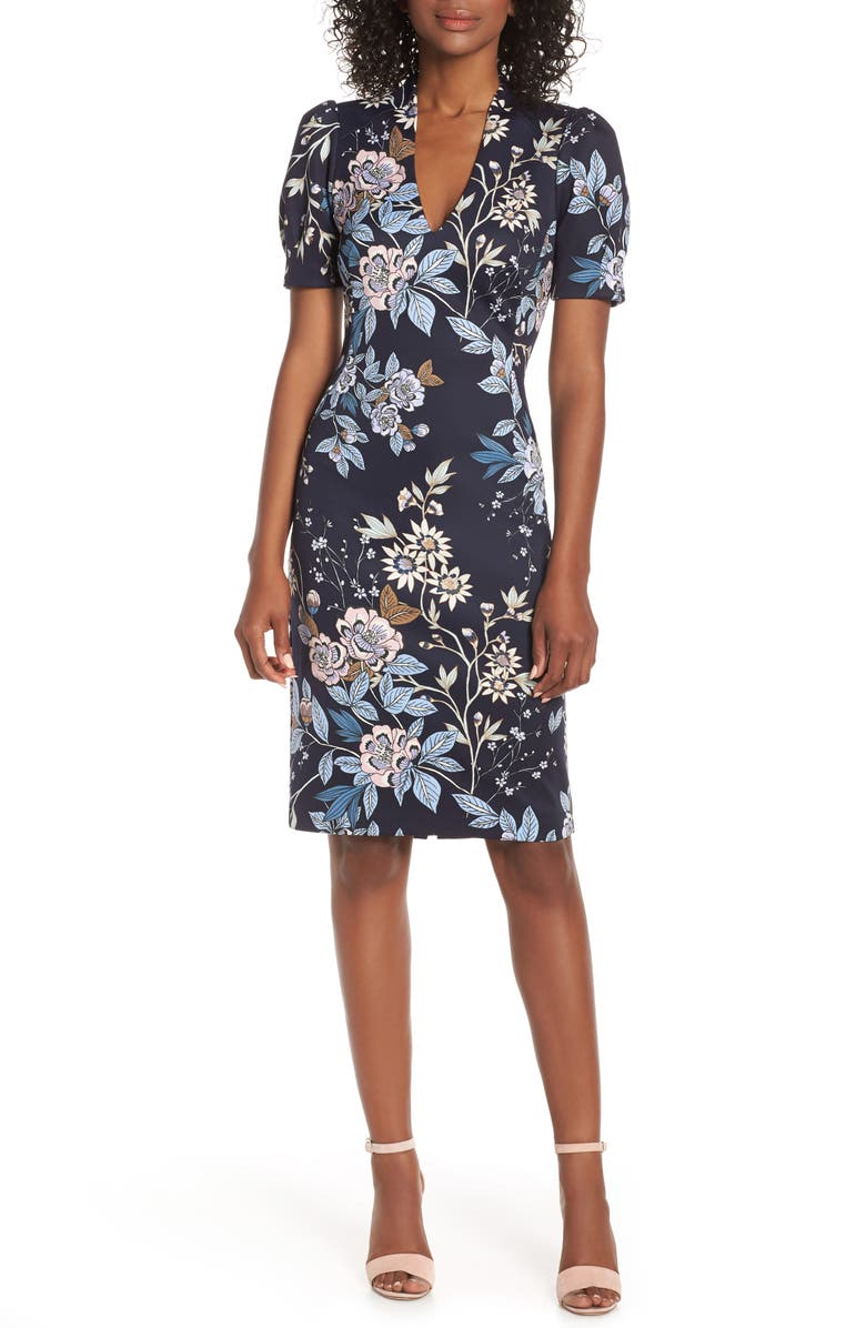 VINCE CAMUTO FLORAL PRINT SCUBA CREPE SHEATH DRESS