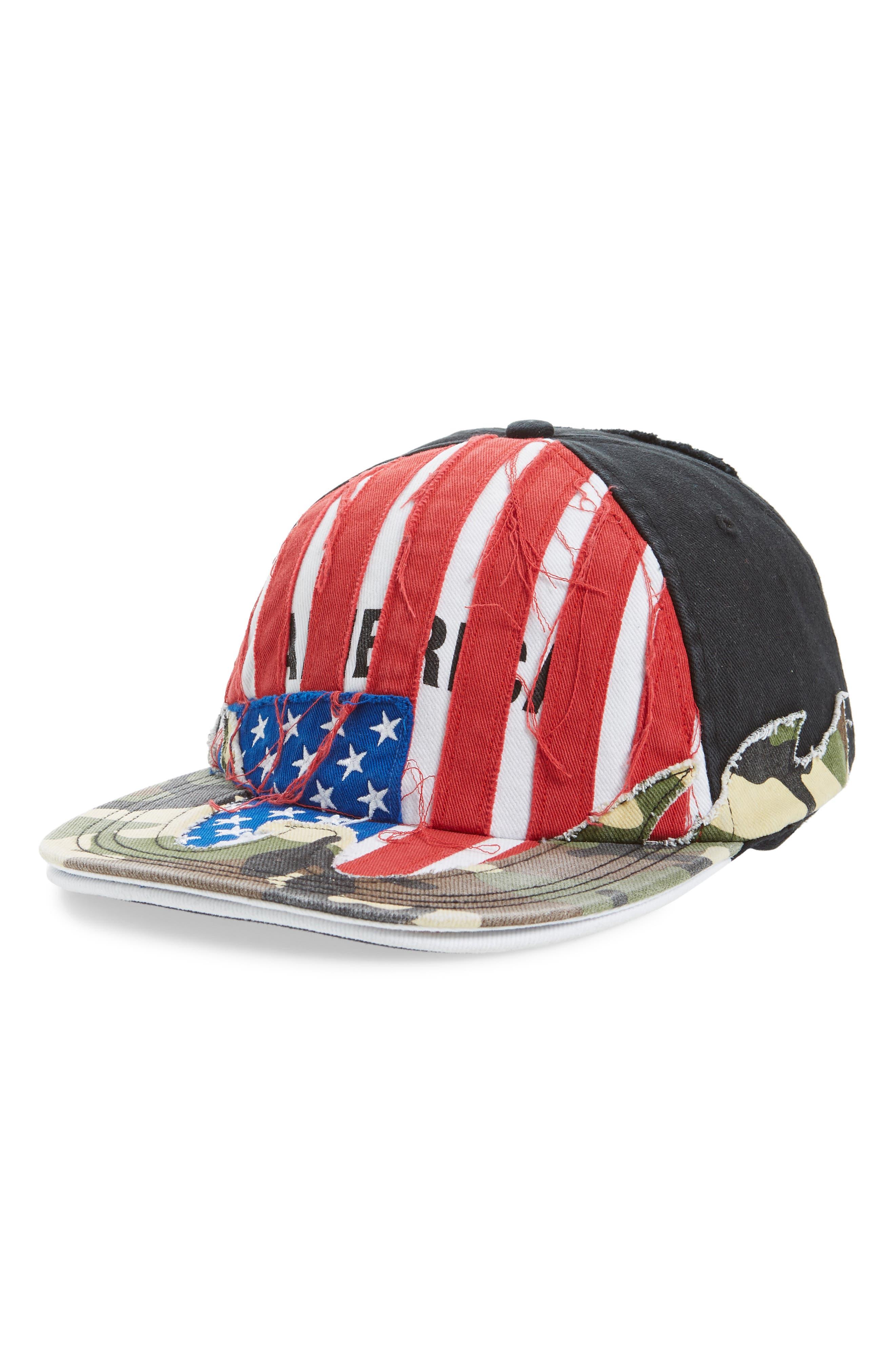 VETEMENTS, Cut Up America Baseball Cap, Main thumbnail 1, color, USA