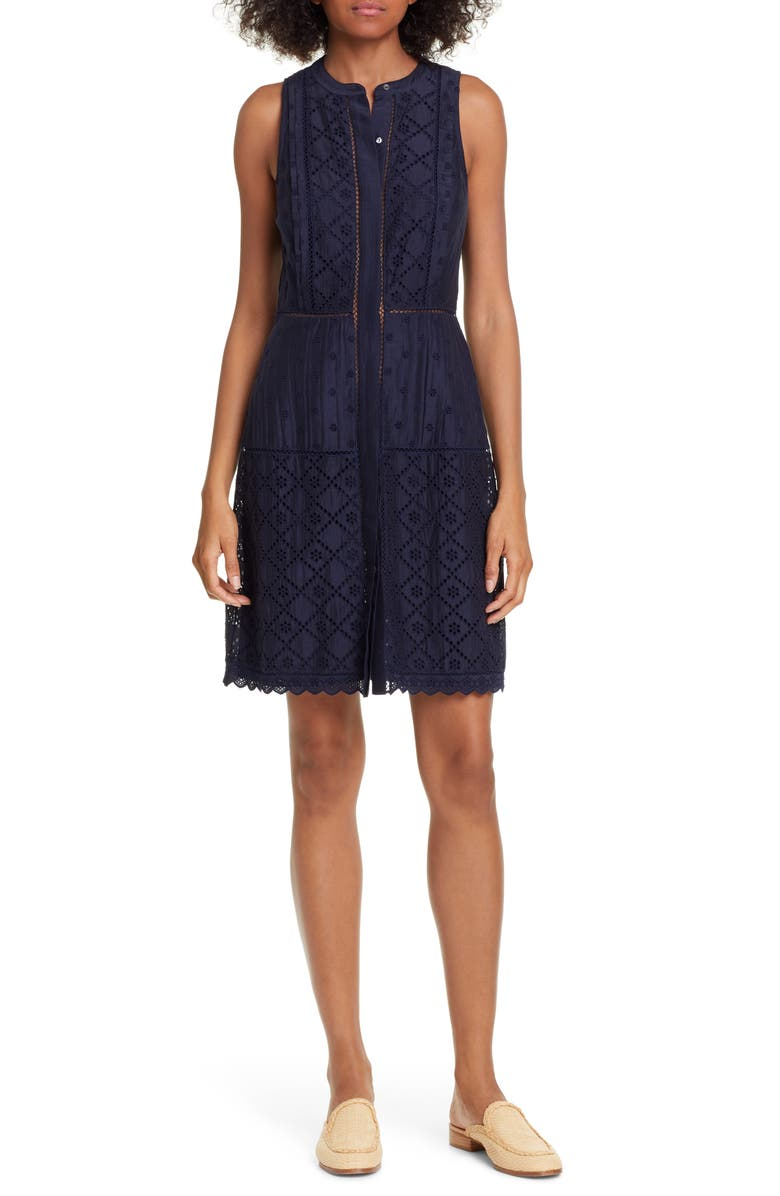 Joie Dresses ZAKARI EYELET DETAIL COTTON & SILK SLEEVELESS DRESS
