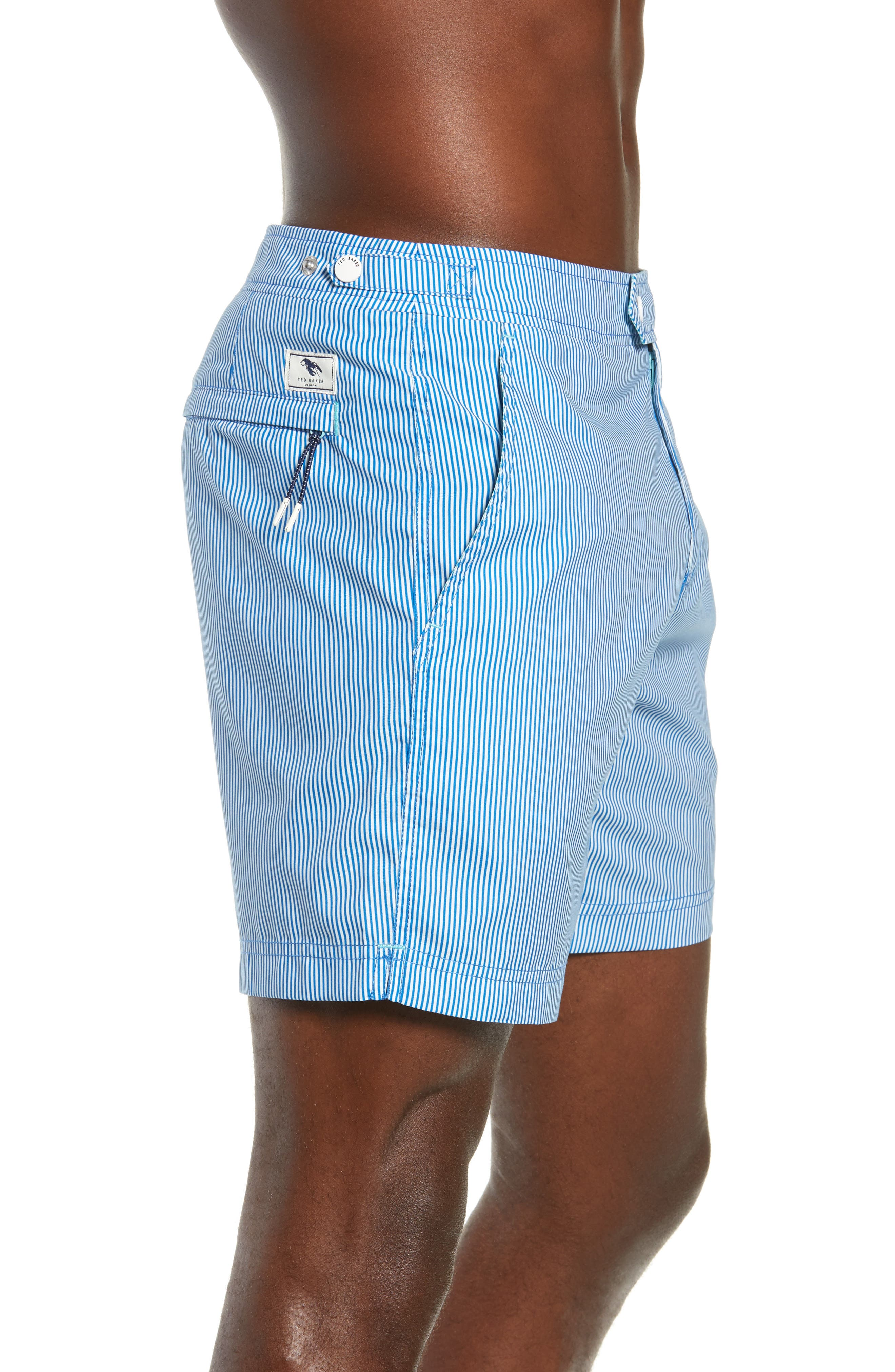 TED BAKER LONDON, Seel Stripe Swim Trunks, Alternate thumbnail 4, color, BLUE
