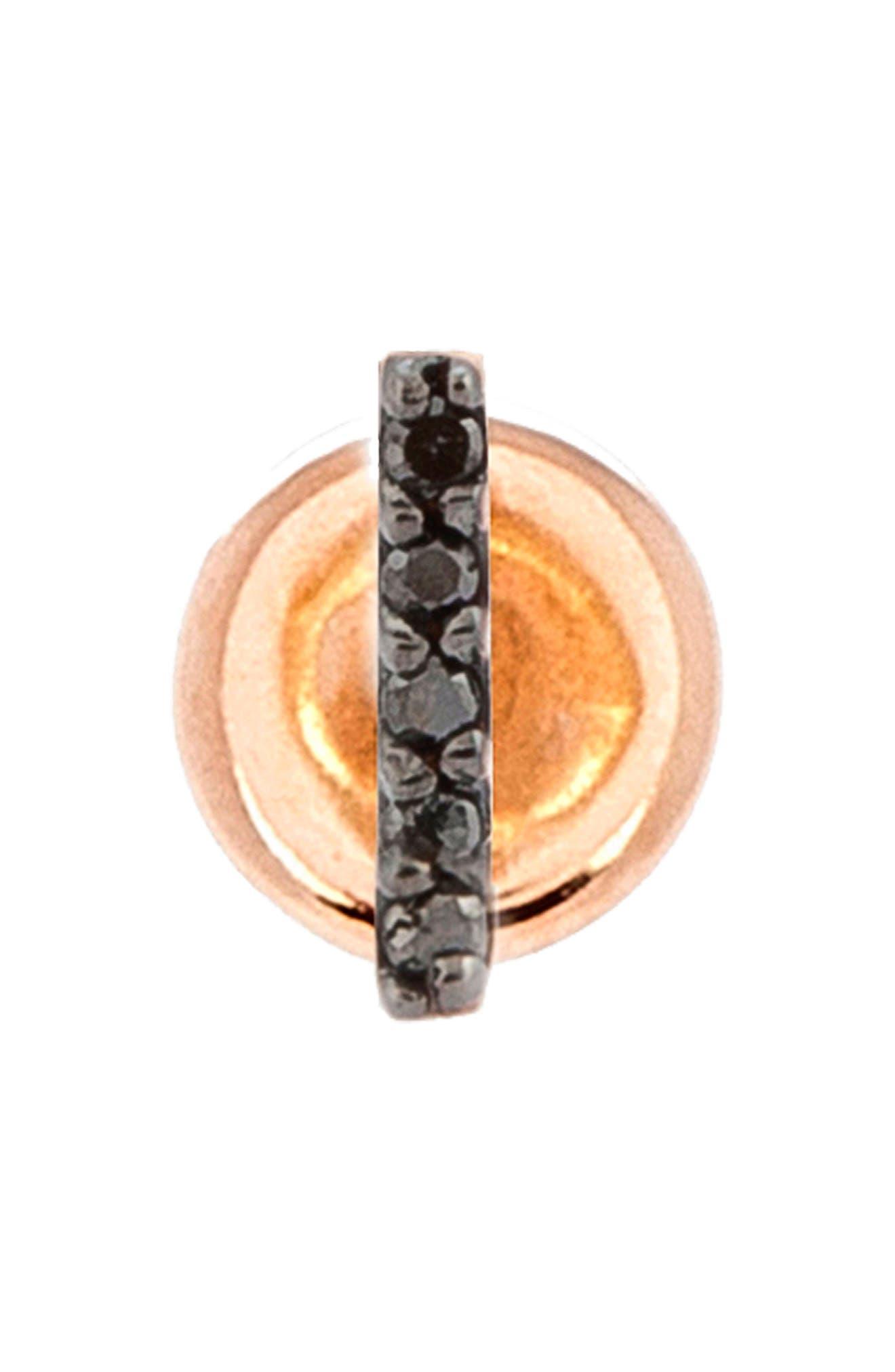 KISMET BY MILKA, Diamond Stud Earring, Main thumbnail 1, color, ROSE GOLD/ BLACK DIAMOND