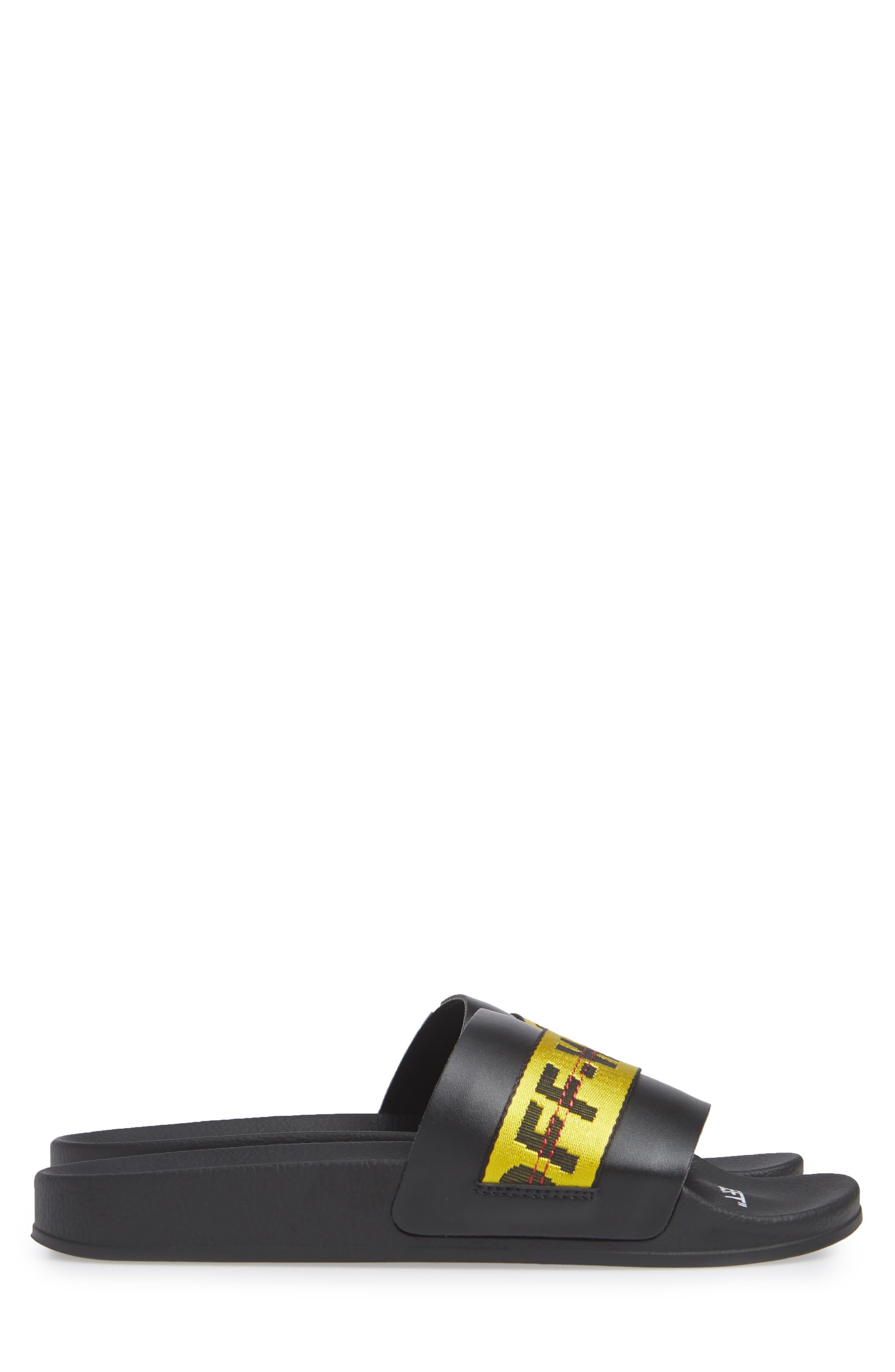 OFF-WHITE, Industrial Slide Sandal, Alternate thumbnail 3, color, 001