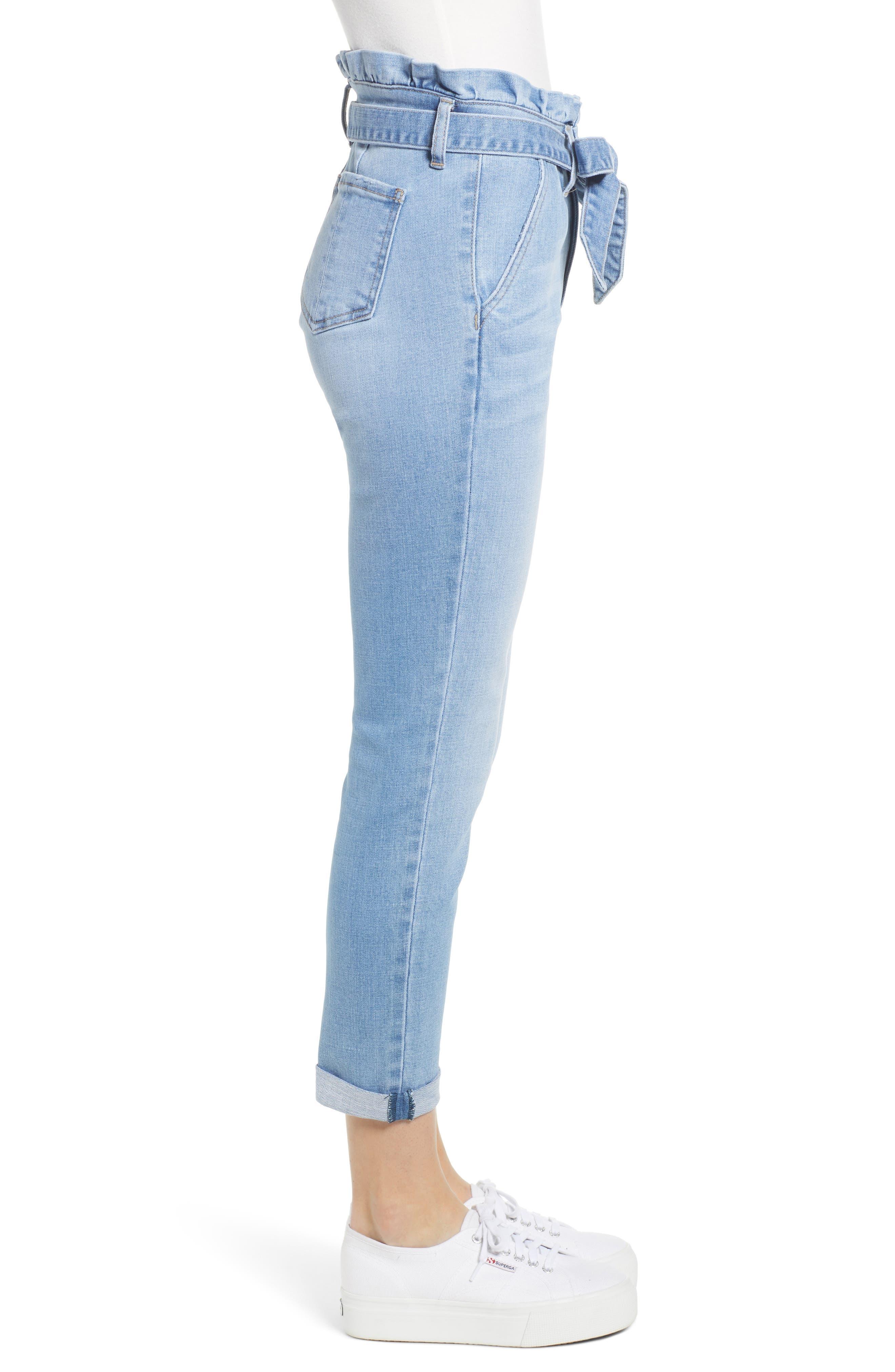 PROSPERITY DENIM, Paperbag Waist Skinny Jeans, Alternate thumbnail 4, color, MEDIUM WASH