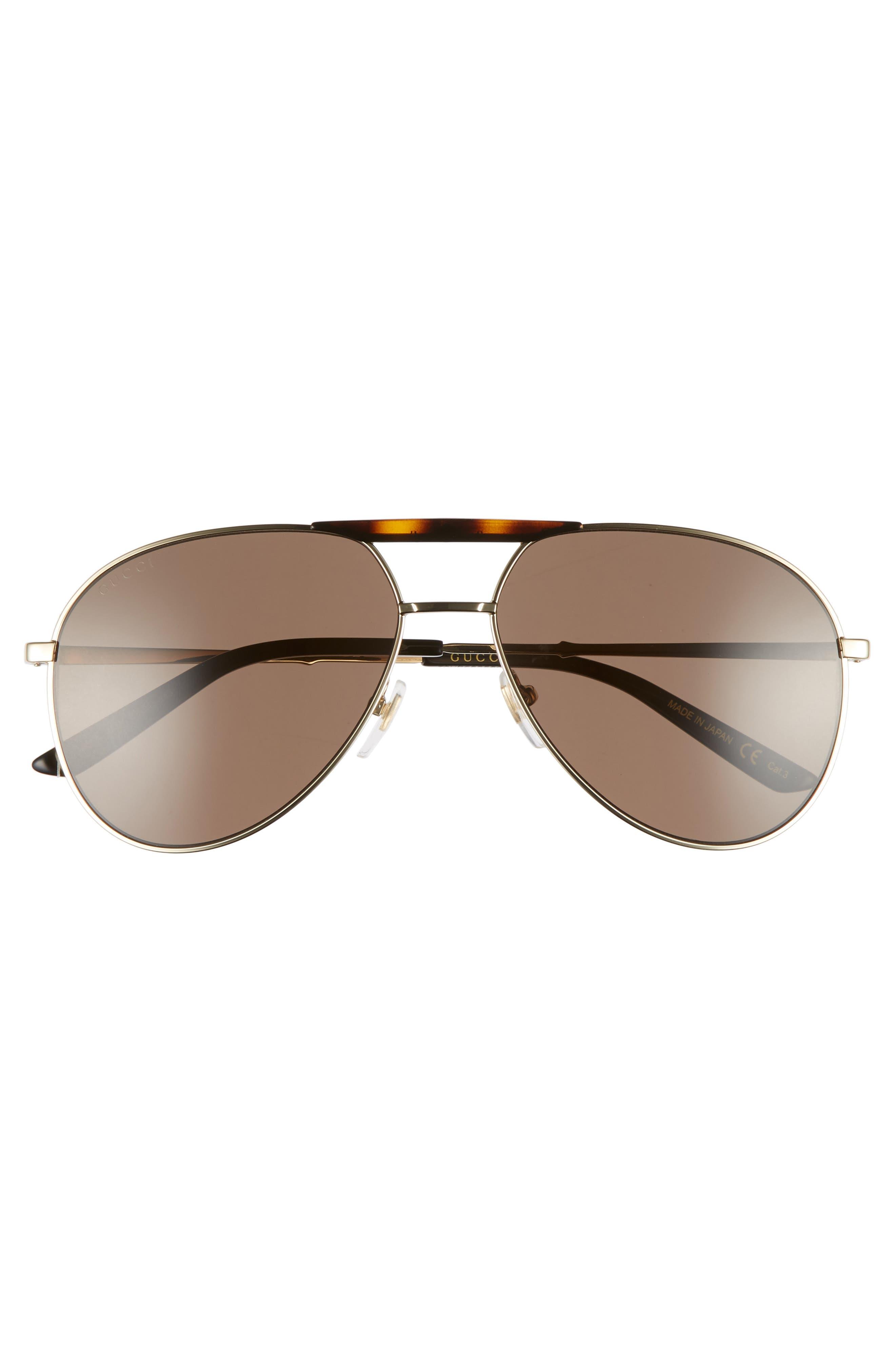 GUCCI, Cruise 59mm Aviator Sunglasses, Alternate thumbnail 2, color, GOLD/ BLACK