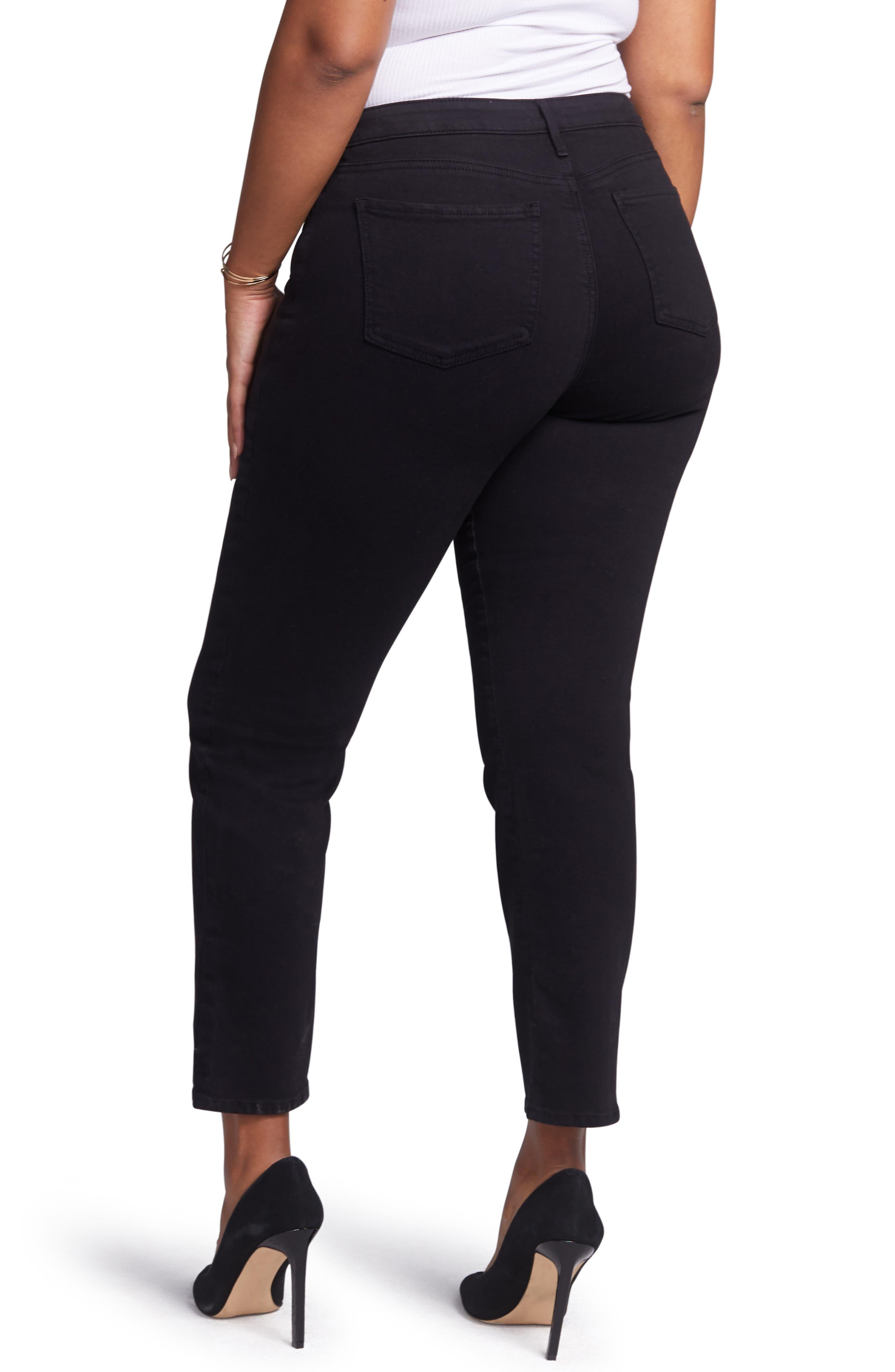 CURVES 360 BY NYDJ, Slim Straight Leg Ankle Jeans, Alternate thumbnail 2, color, BLACK