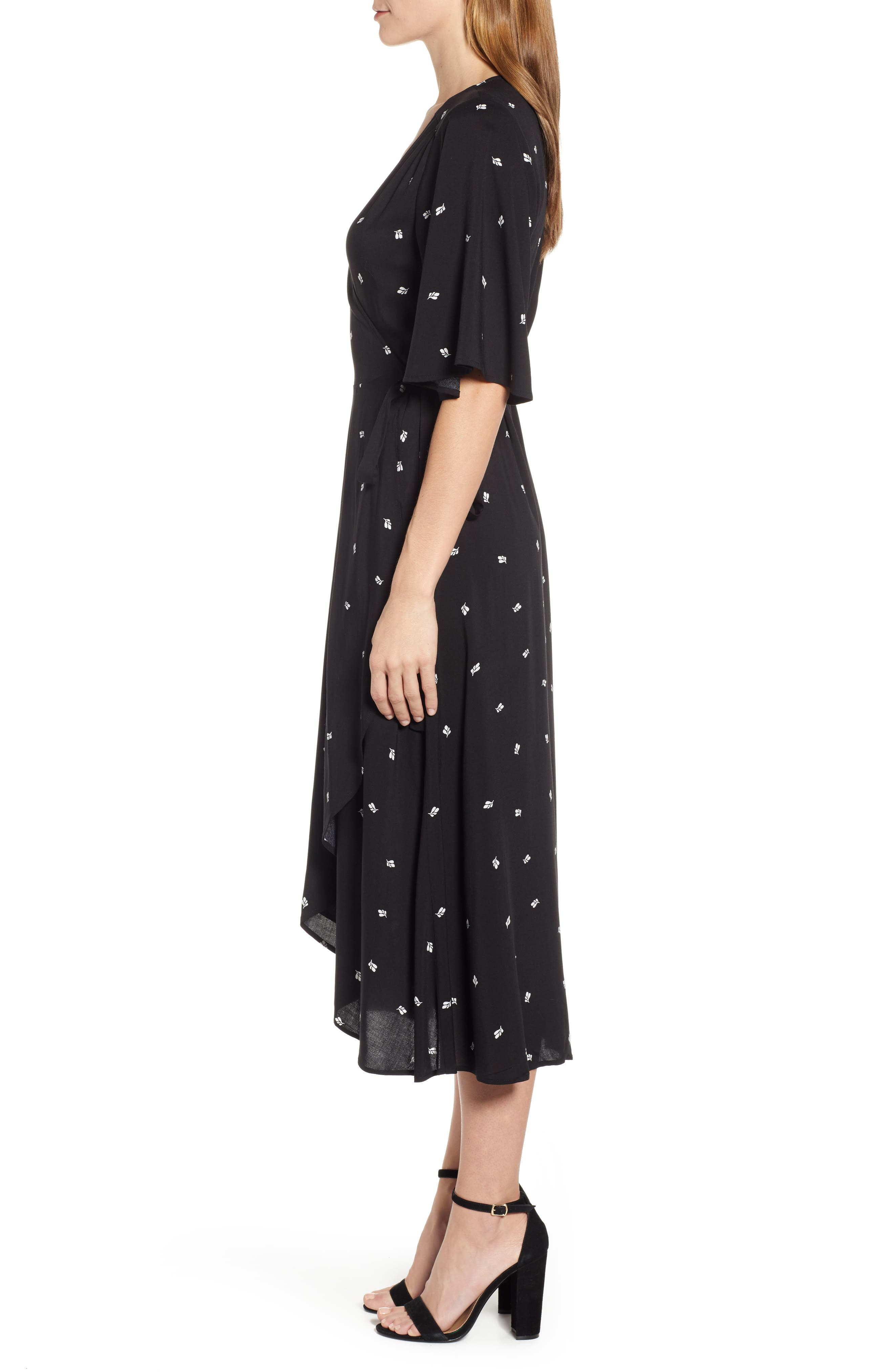 BOBEAU, Orna High/Low Wrap Dress, Alternate thumbnail 4, color, BLACK LEAF PRINT