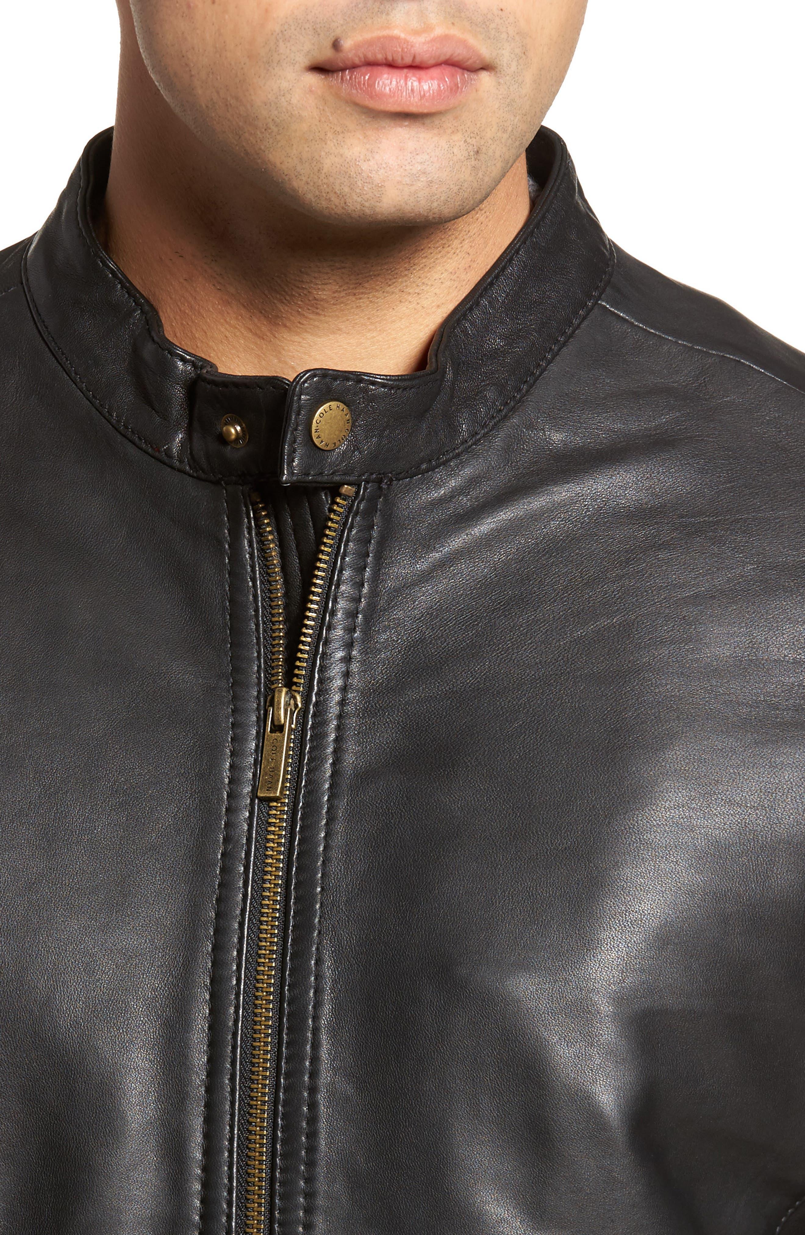 COLE HAAN, Lambskin Leather Moto Jacket, Alternate thumbnail 5, color, 001