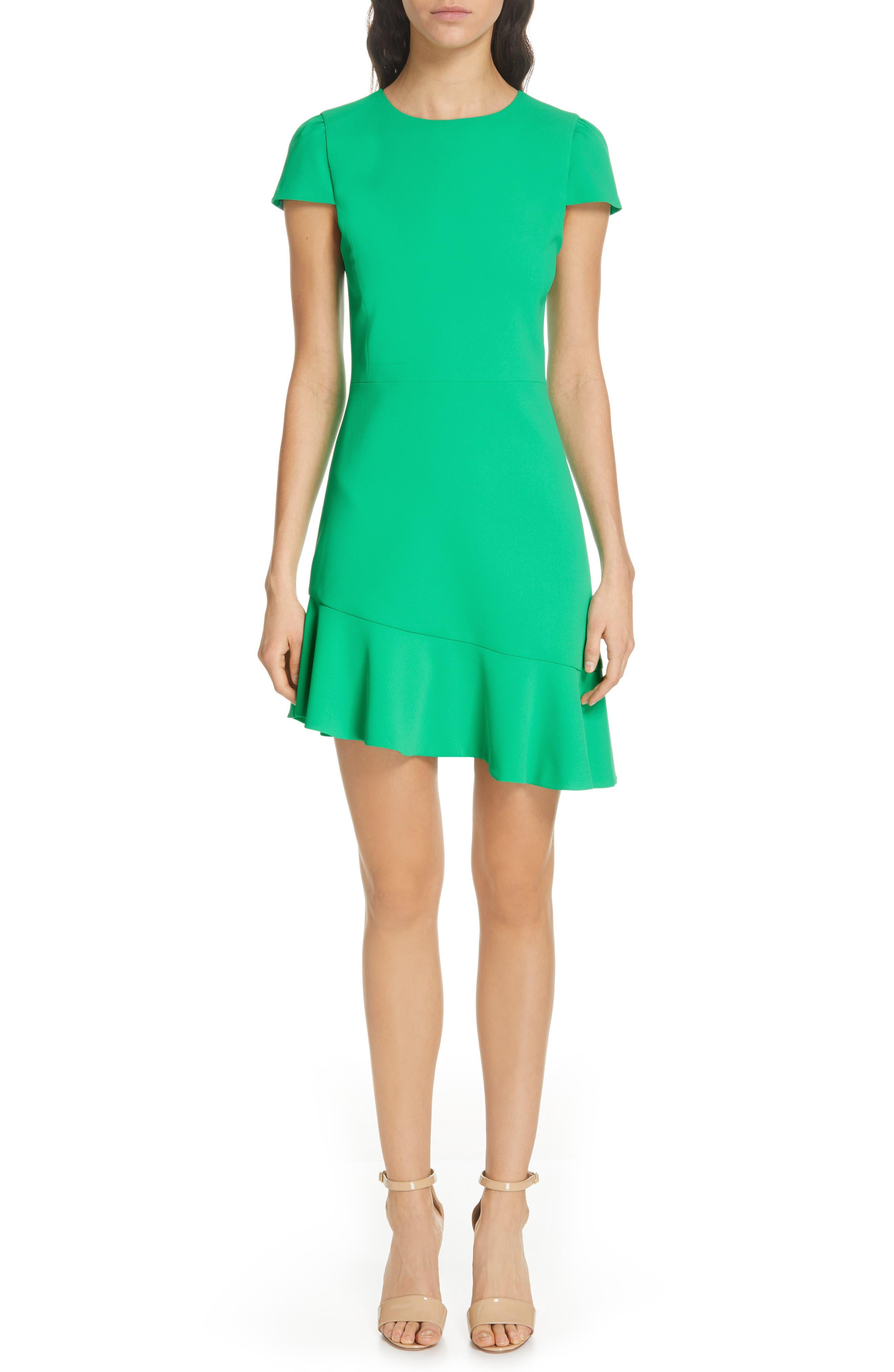 Alice + Olivia Fable Asymmetrical Ruffle Dress, Green